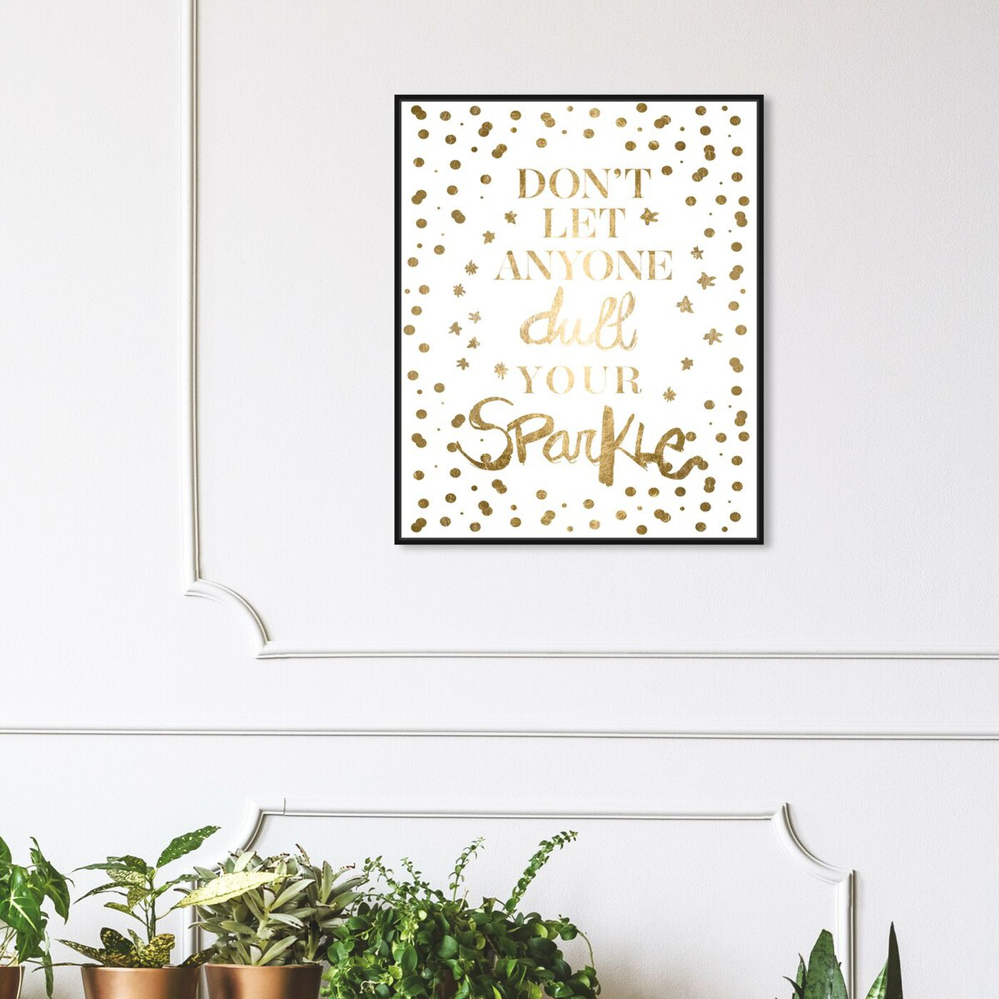 Hanging view of Always Shine Confetti Gold Foil featuring typography and quotes and beauty quotes and sayings art.