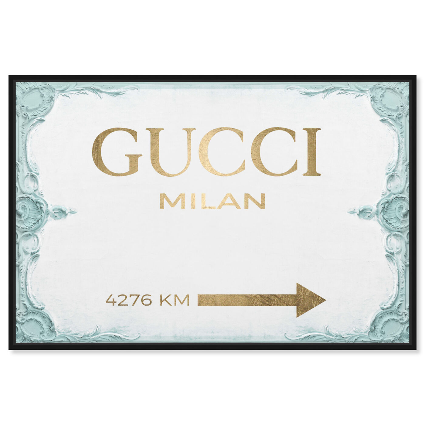 Front view of Milan Sign Aqua featuring fashion and glam and road signs art.