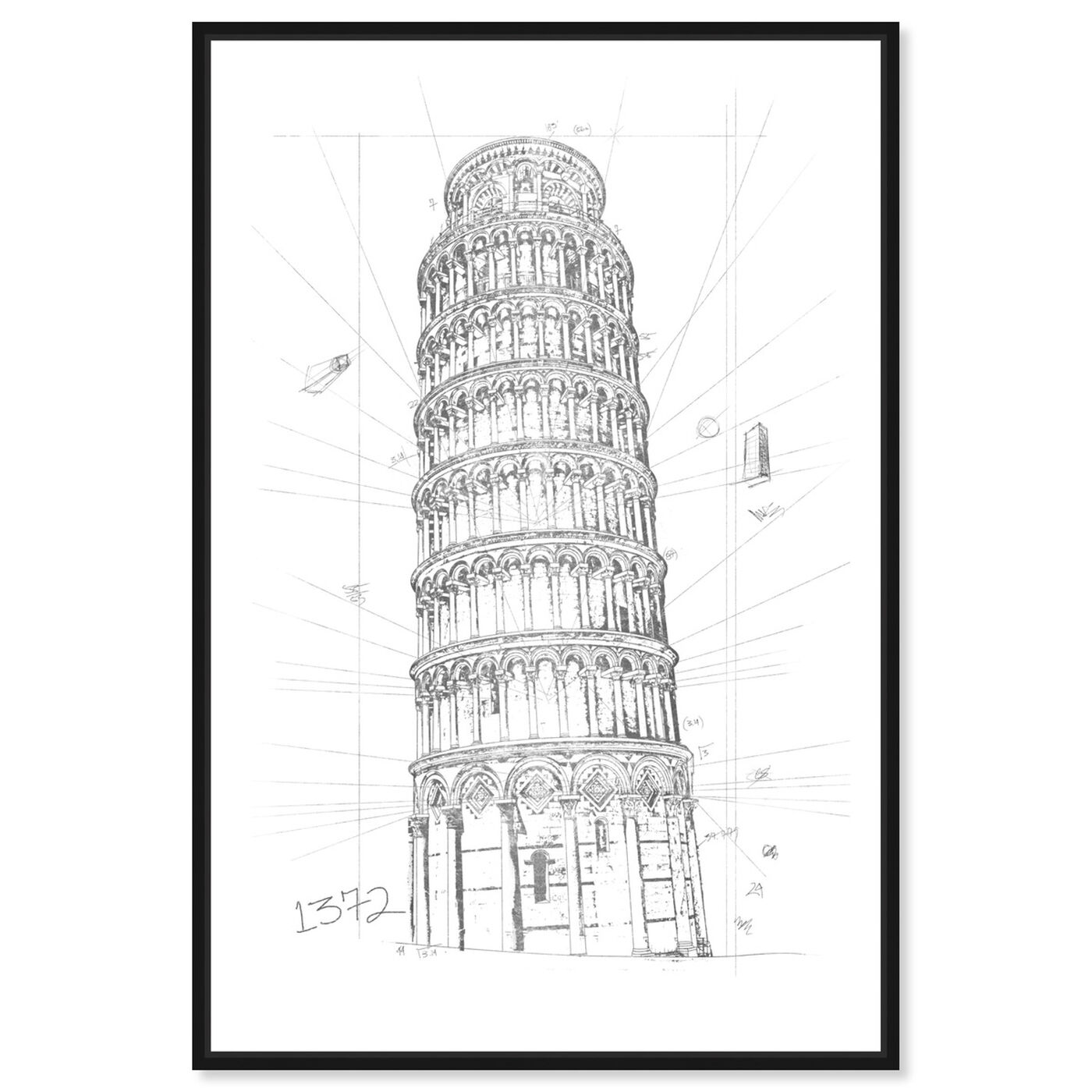 Front view of Tower of Pisa Silver featuring architecture and buildings and european buildings art.