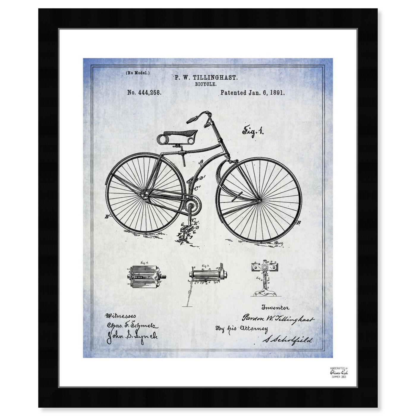 Front view of Bicycle 1891 featuring transportation and bicycles art.