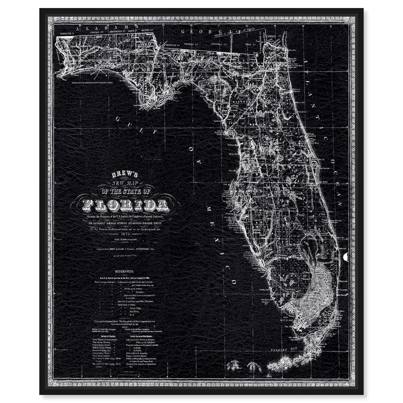 Front view of Florida Map 1870 featuring maps and flags and us states maps art.