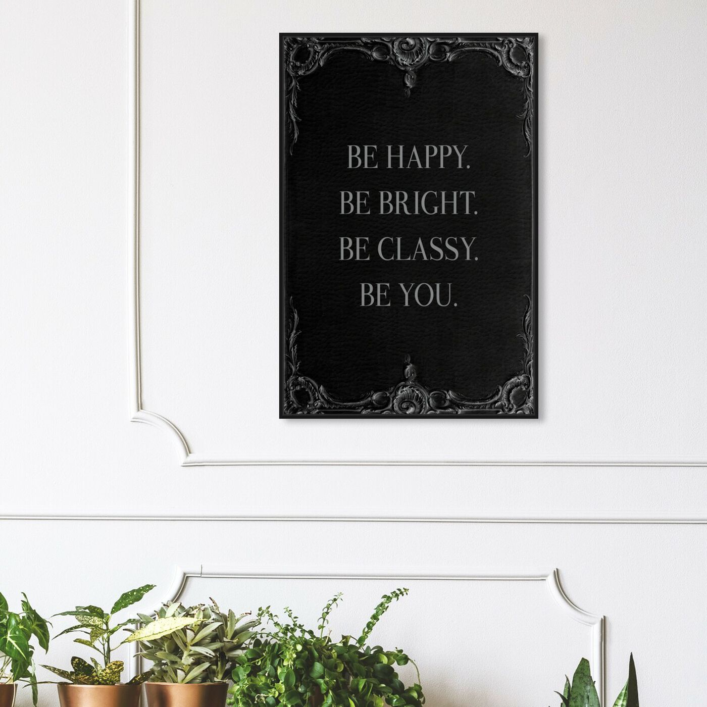 Hanging view of Be Happy Leather II featuring typography and quotes and inspirational quotes and sayings art.