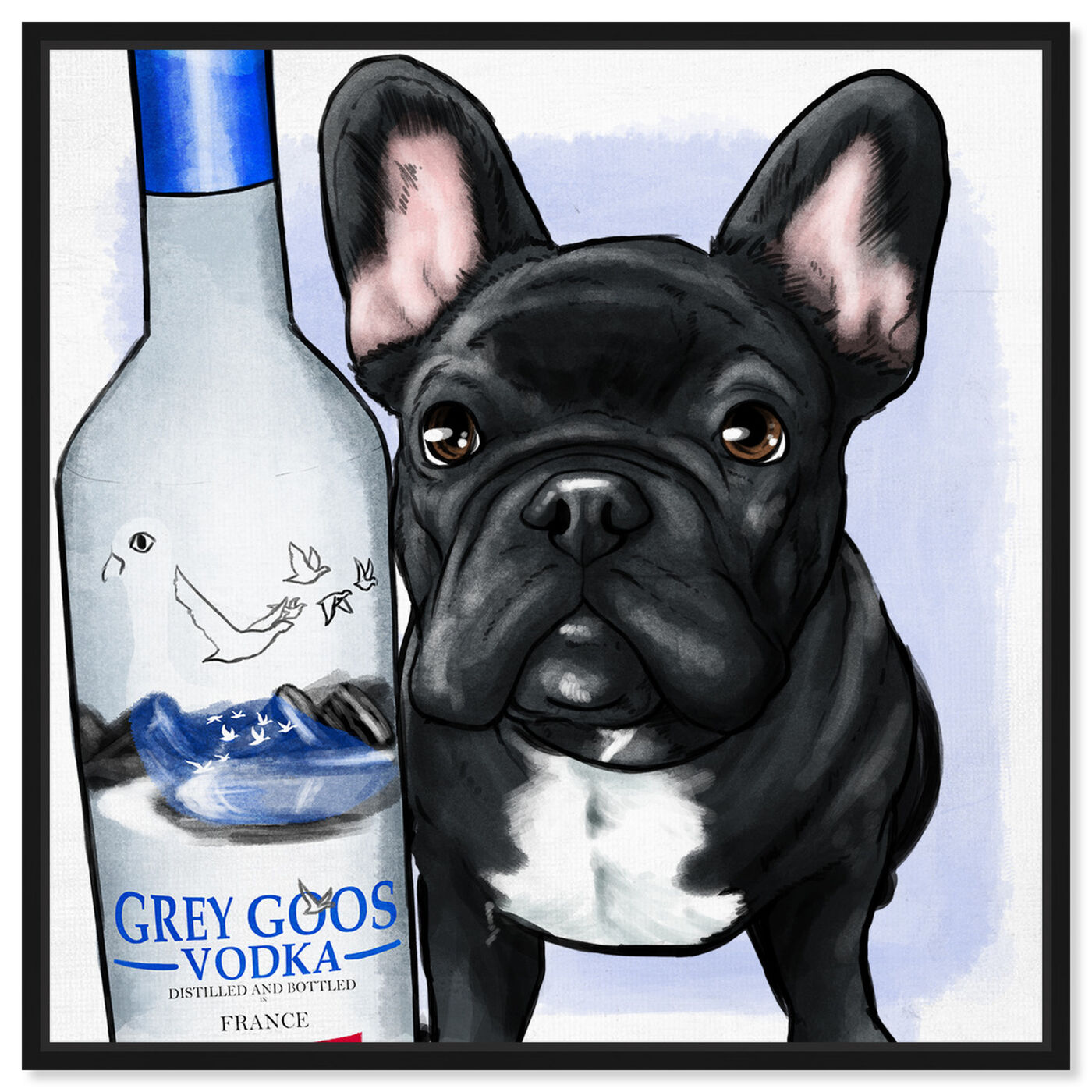 Front view of Grey Goose Compagni No Scarf featuring animals and dogs and puppies art.