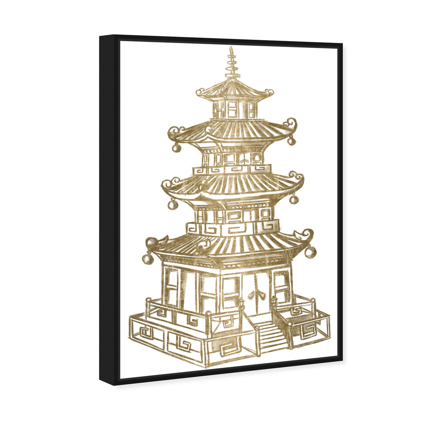 Angled view of Pagoda Gold featuring architecture and buildings and asian buildings art.