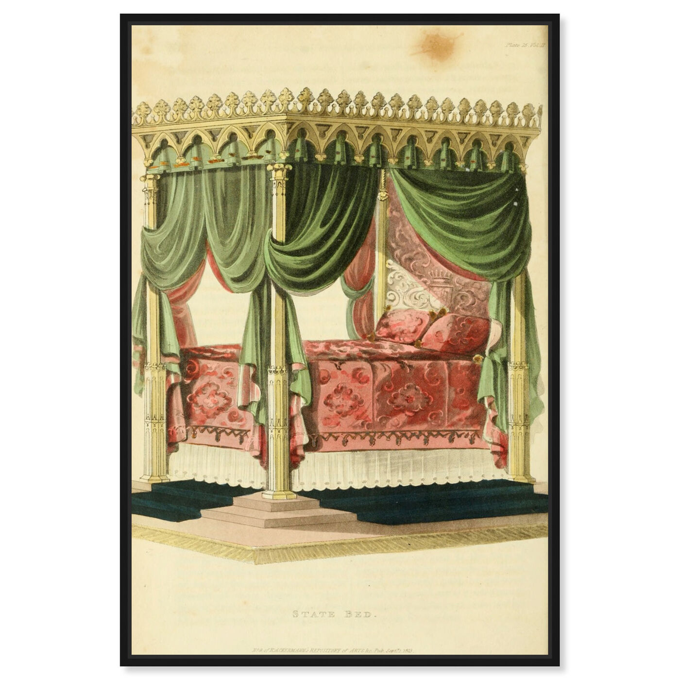 Front view of State Bed - The Art Cabinet featuring classic and figurative and french décor art.