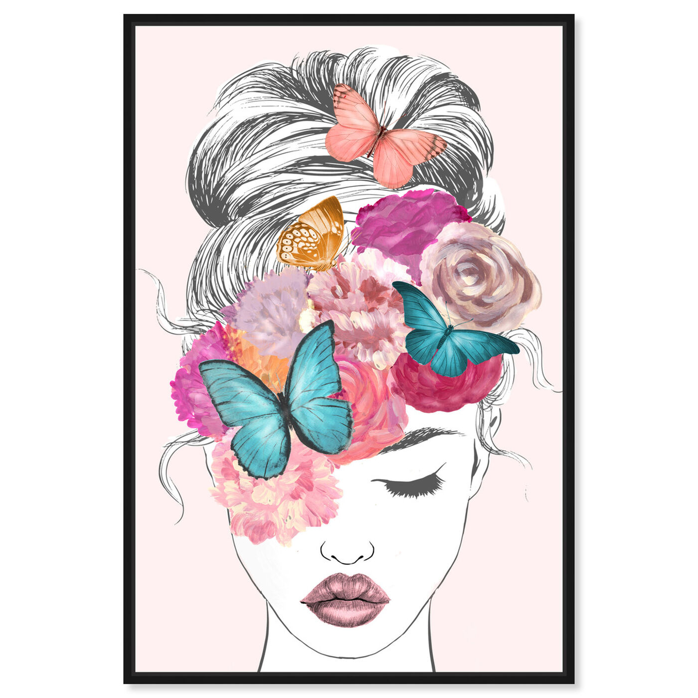 Front view of Butterflies in My Head featuring fashion and glam and portraits art.
