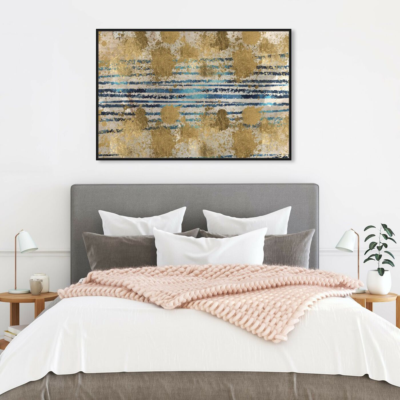 Hanging view of Wealth of Love featuring abstract and shapes art.