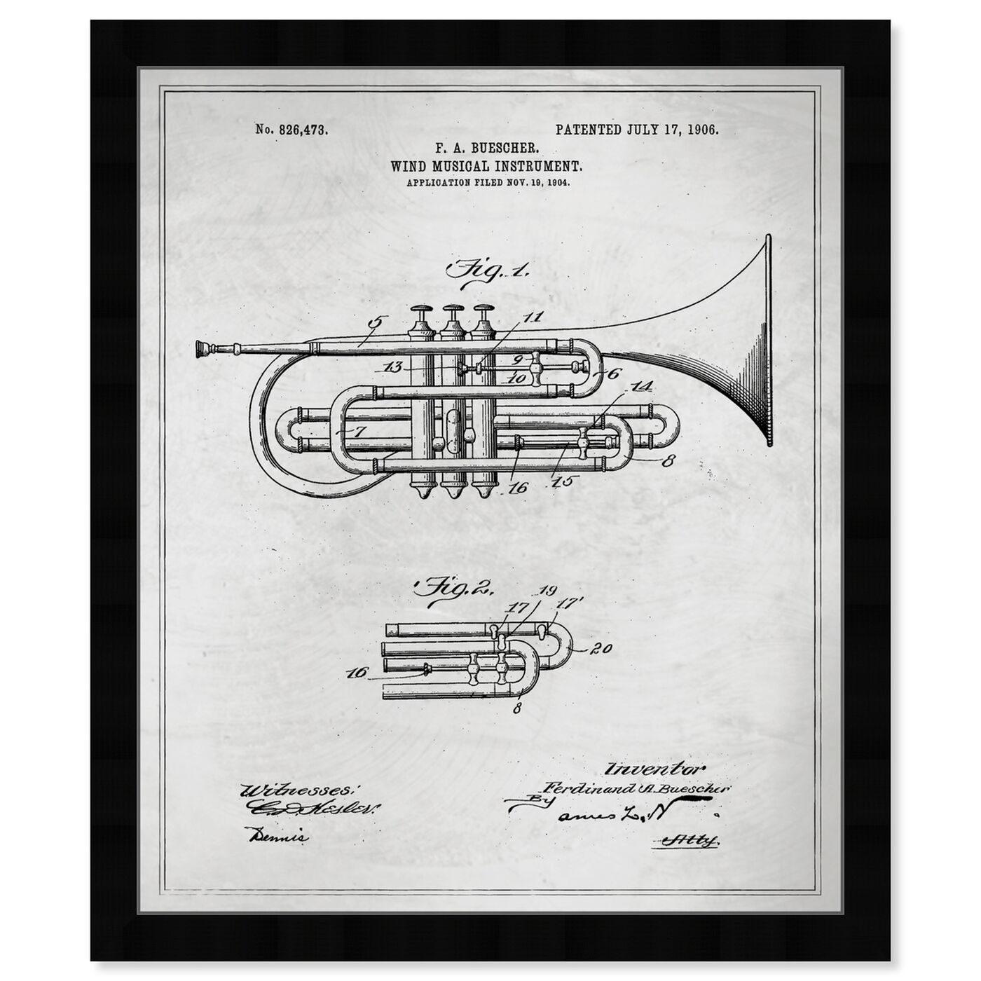 Front view of Wind Musical Instrument 1906 Blueprint featuring music and dance and music instruments art.