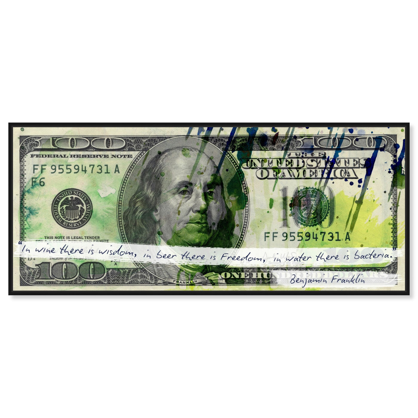 Front view of Benjamin's Quote featuring success and entrepreneurial and money art.