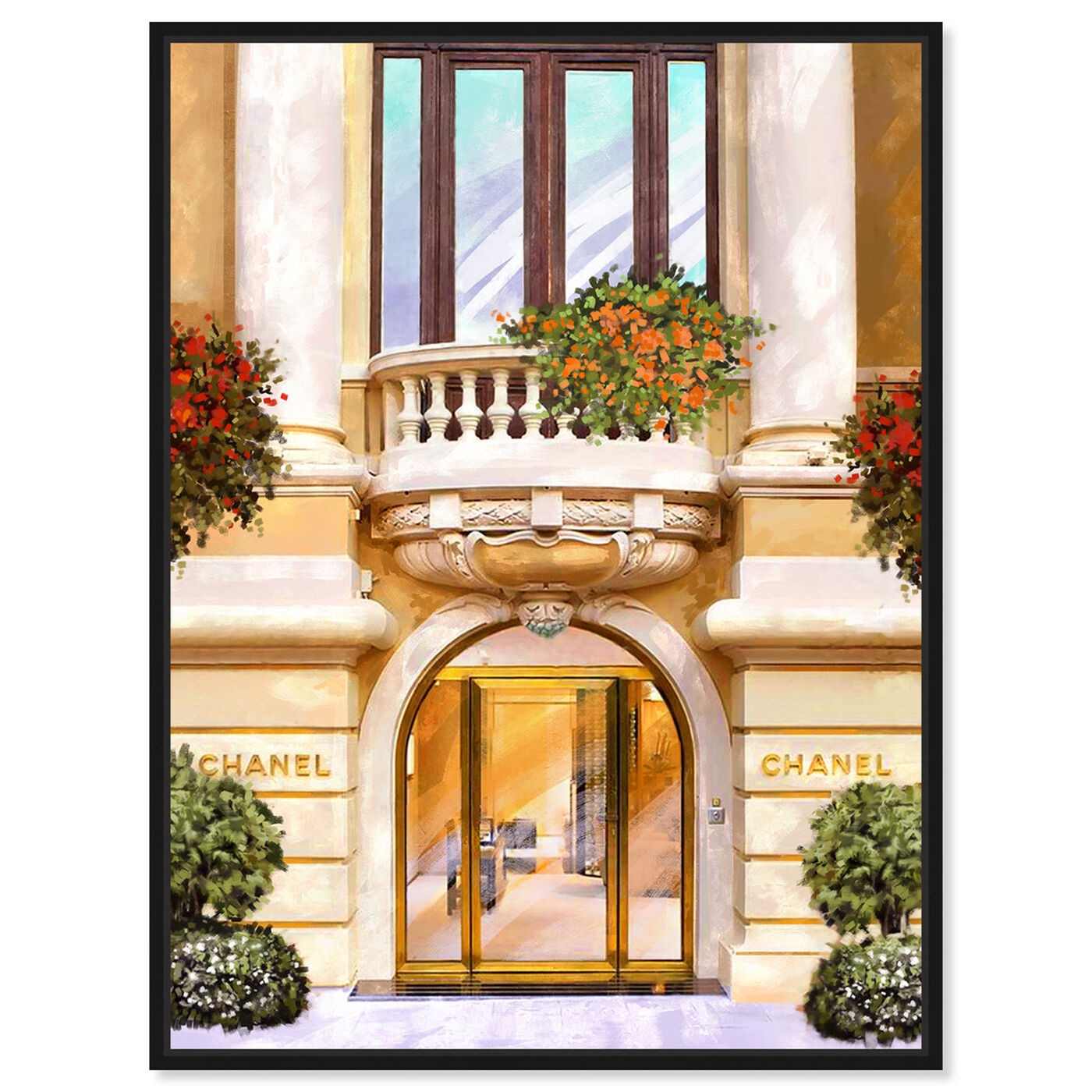 Front view of Parisian Boutique in Spring featuring fashion and glam and road signs art.