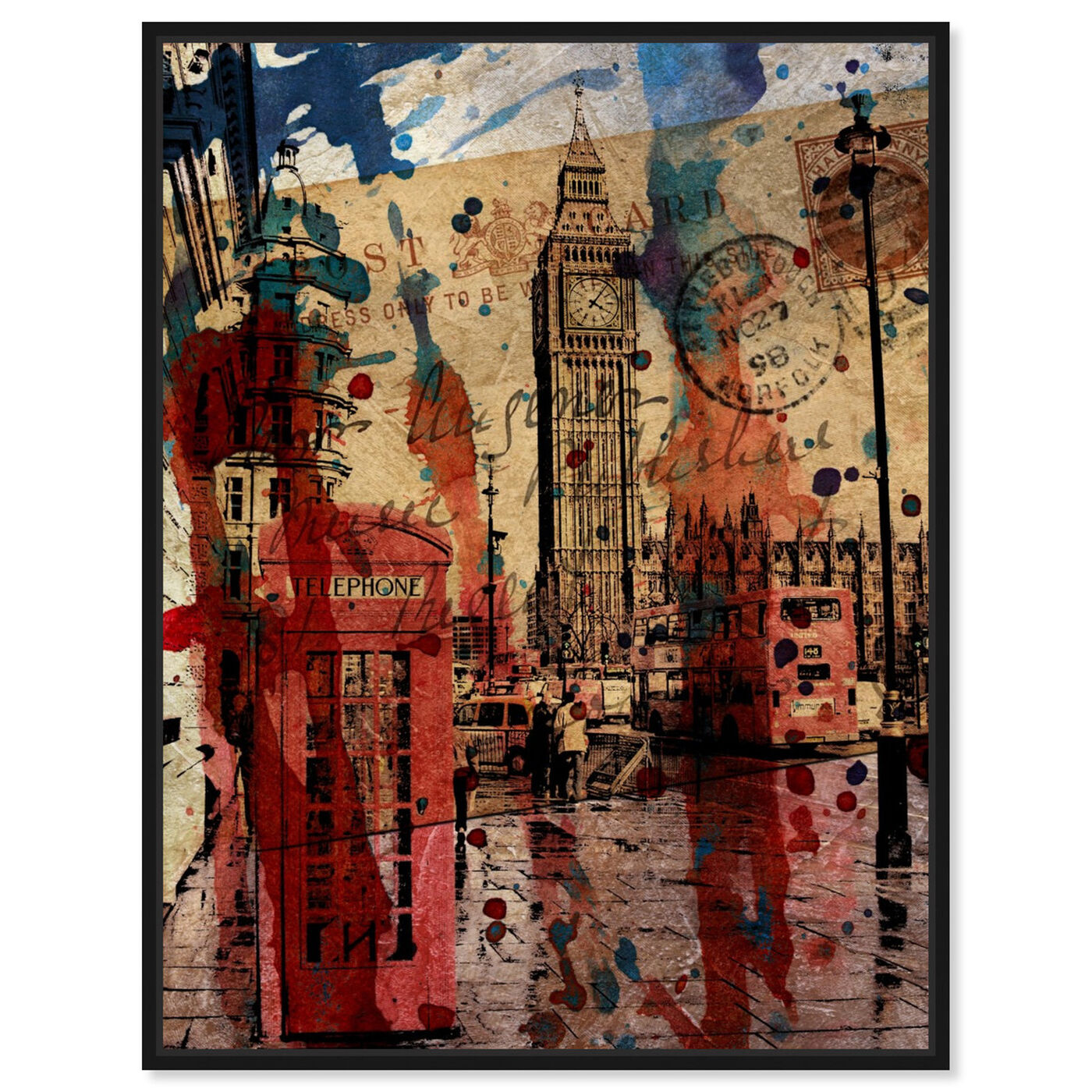 Front view of London in Red featuring cities and skylines and european cities art.