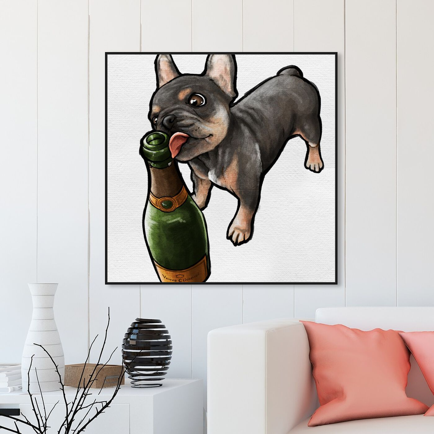 Hanging view of Frenchie and Bubbly Custom featuring animals and dogs and puppies art.
