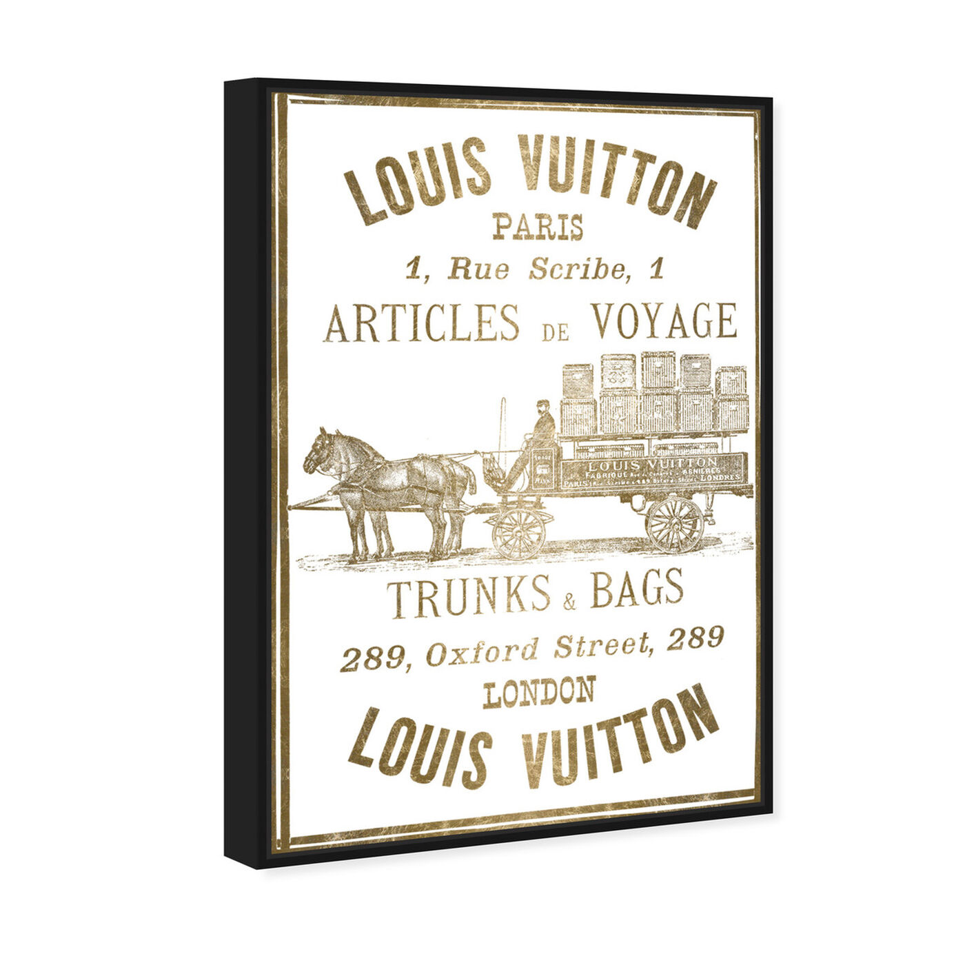 Angled view of Articles de Voyage in Gold featuring fashion and glam and road signs art.