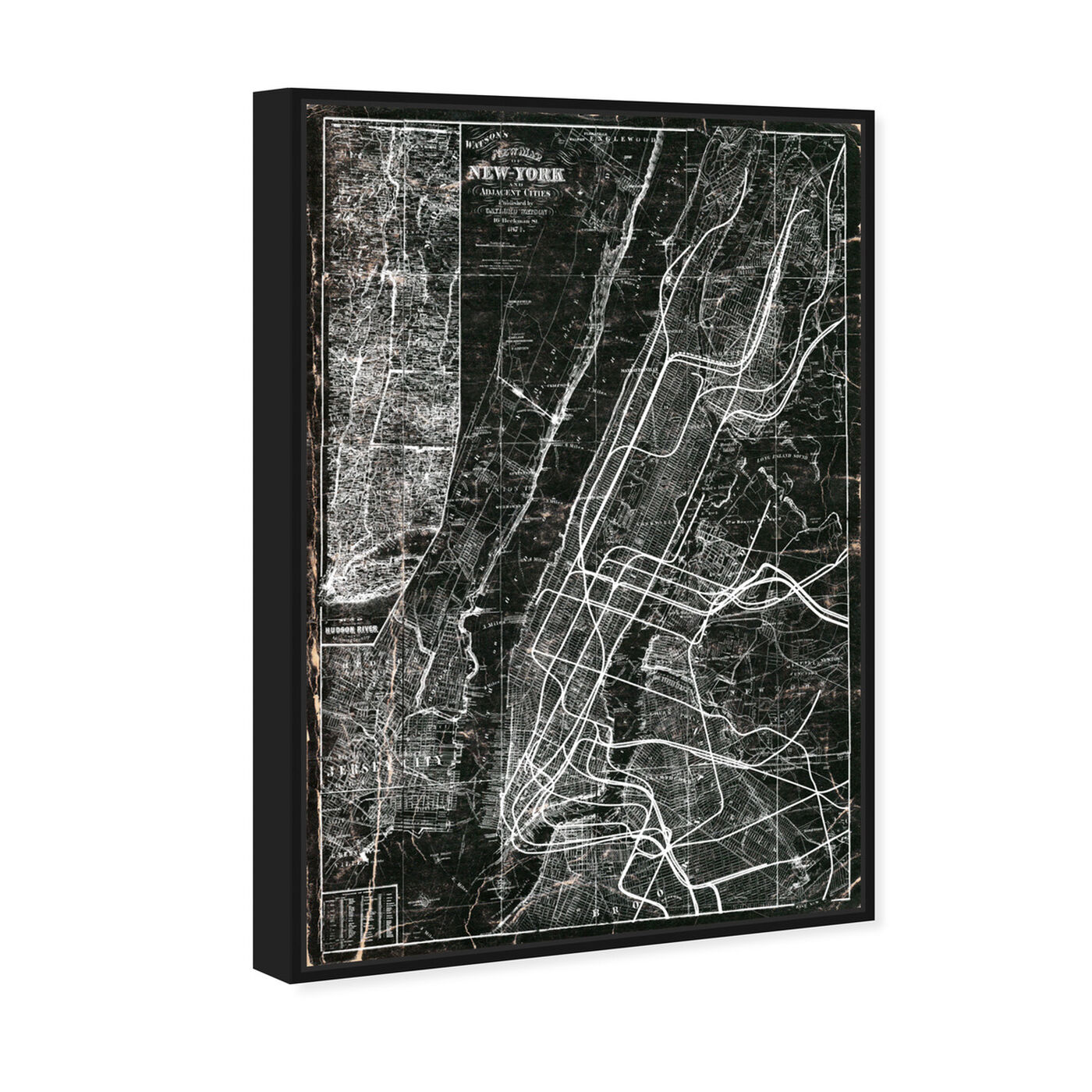 Angled view of NY Subway Map featuring maps and flags and us cities maps art.