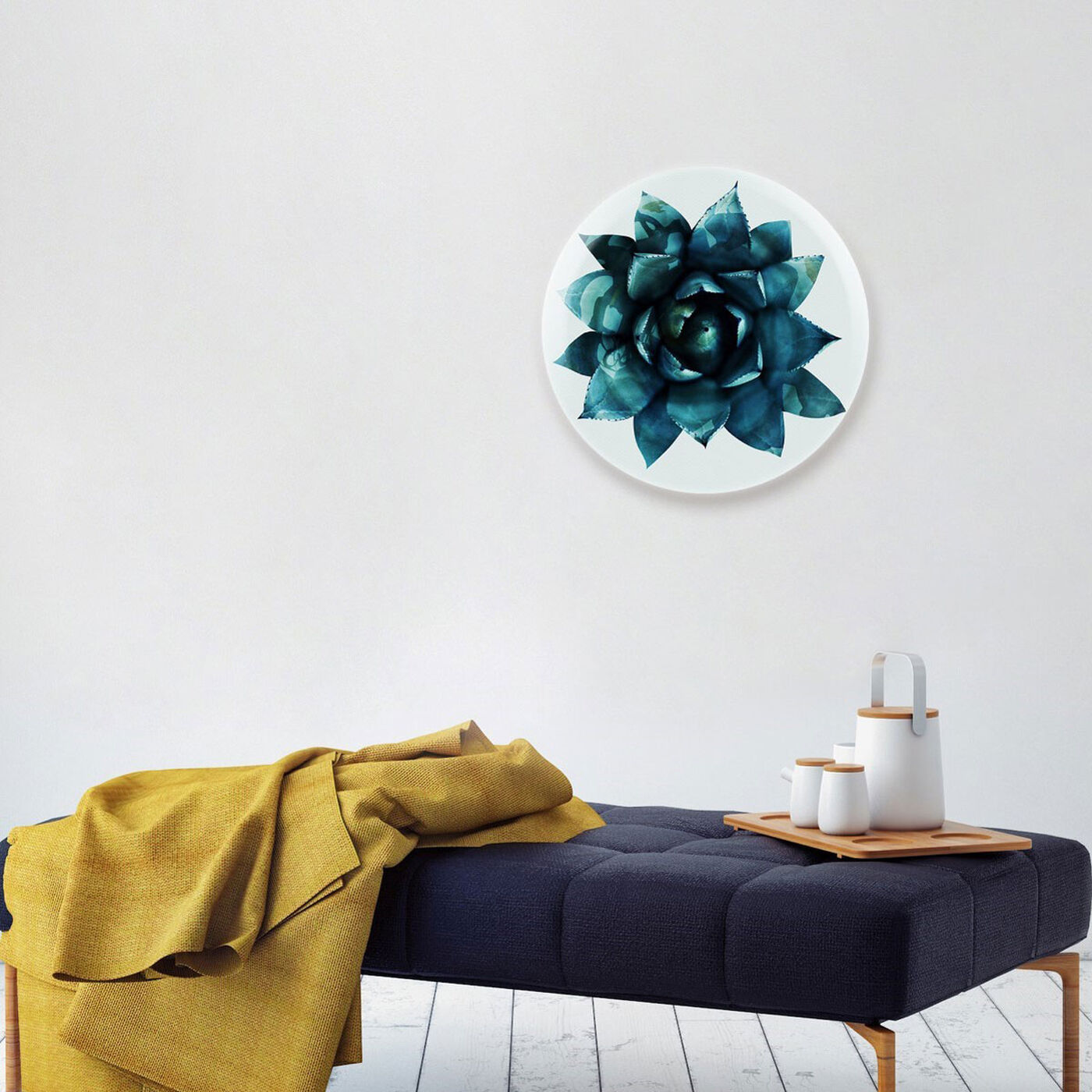 Hanging view of Suculent Circle featuring floral and botanical and botanicals art.