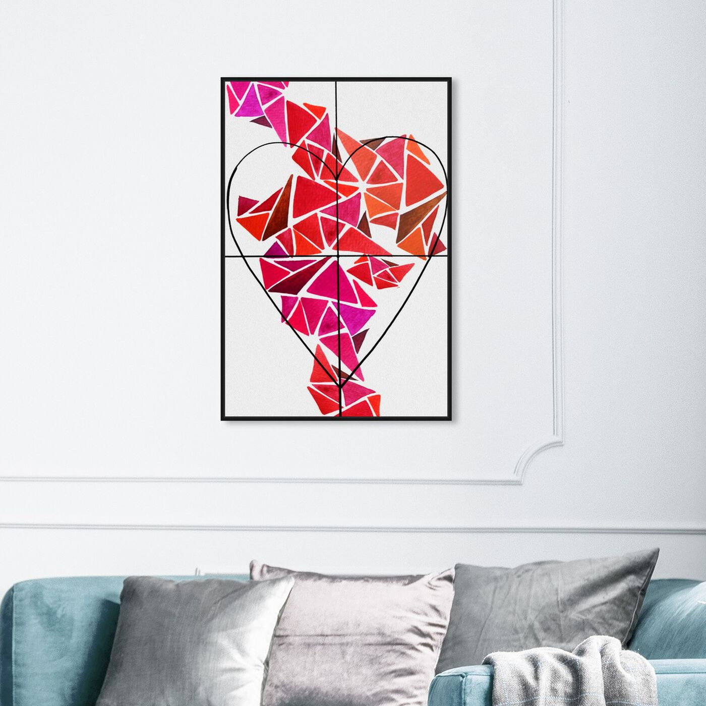 Hanging view of Piece of My Heart featuring abstract and geometric art.