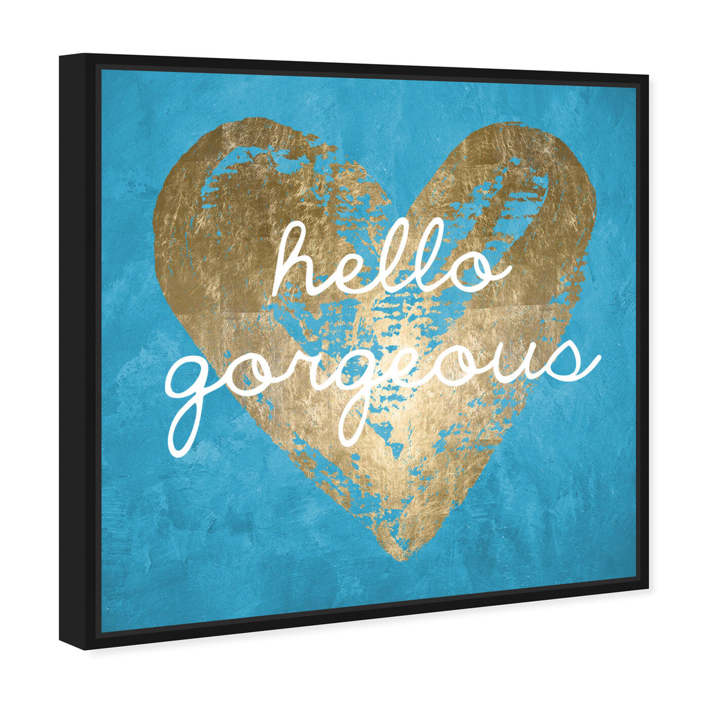Angled view of Gorgeous Salute Turquoise featuring fashion and glam and hearts art.