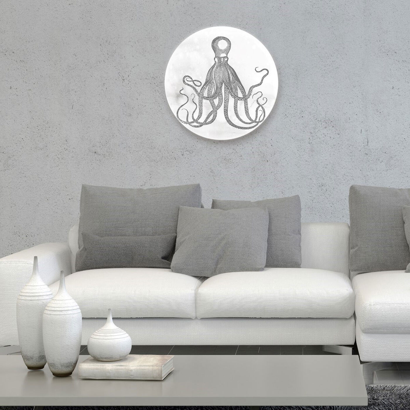 Hanging view of Octopus Circle featuring nautical and coastal and marine life art.