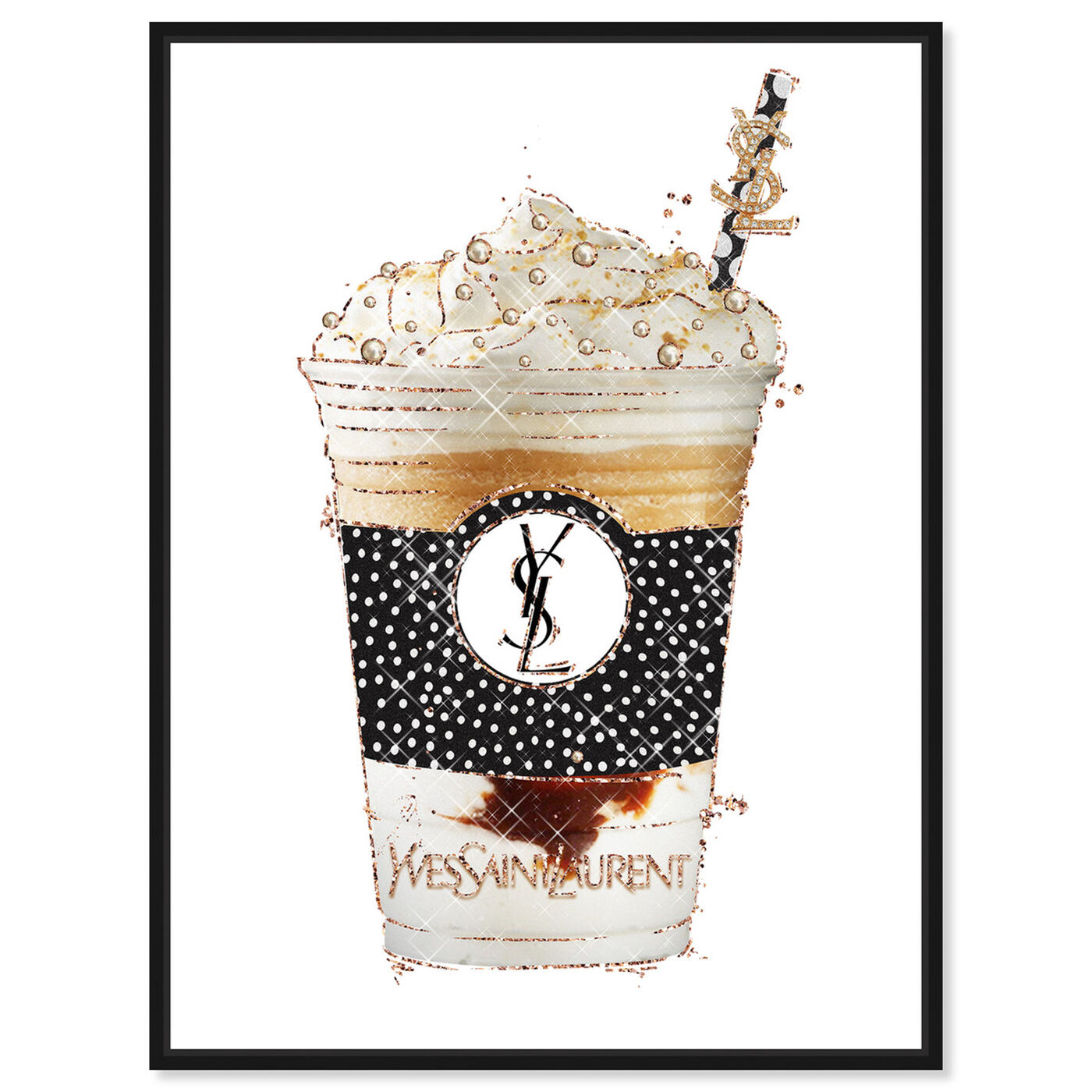 Front view of Pearly Latte Drink featuring fashion and glam and lifestyle art.