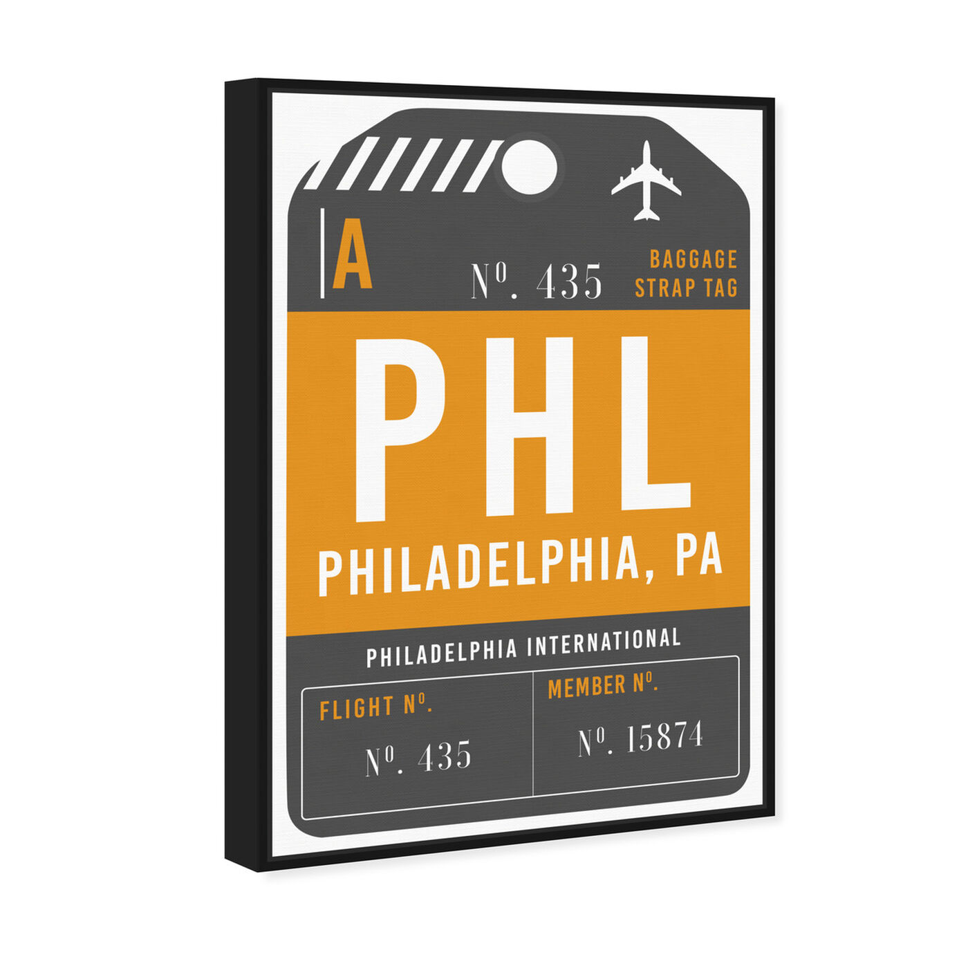 Angled view of Philadelphia Luggage Tag featuring cities and skylines and united states cities art.