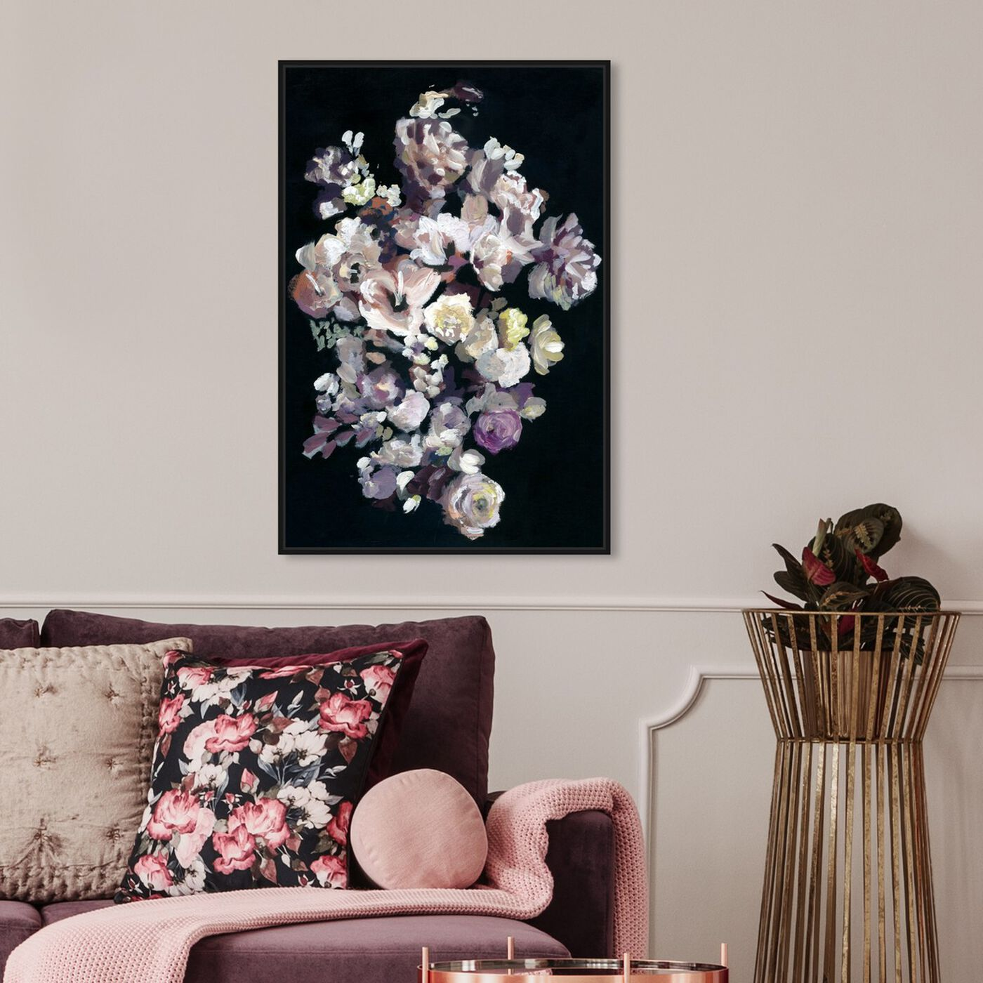 Hanging view of Beauty in Darkness featuring floral and botanical and florals art.