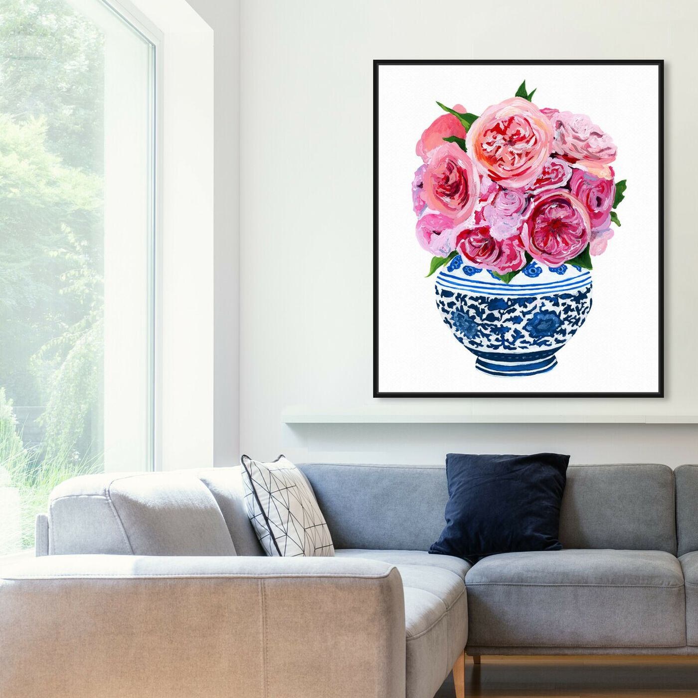 Hanging view of Peonie Vase I featuring floral and botanical and florals art.