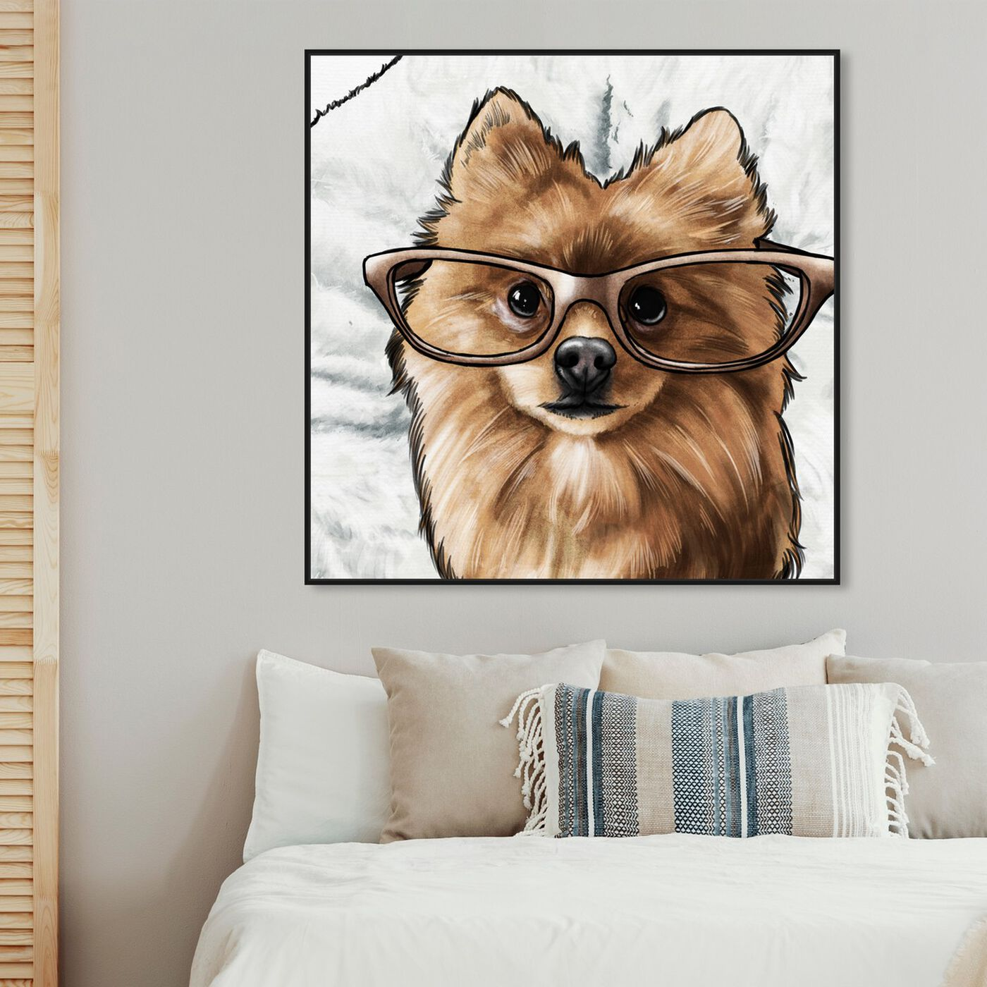 Hanging view of Glasses and Fluff II featuring animals and dogs and puppies art.