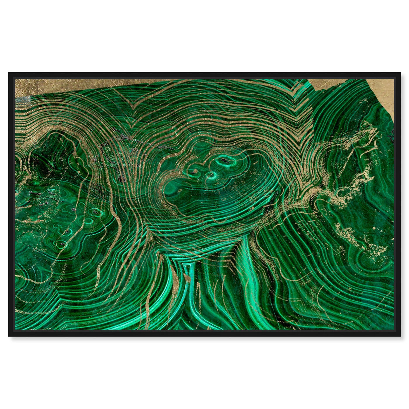 Front view of Emerald Agate featuring abstract and crystals art.