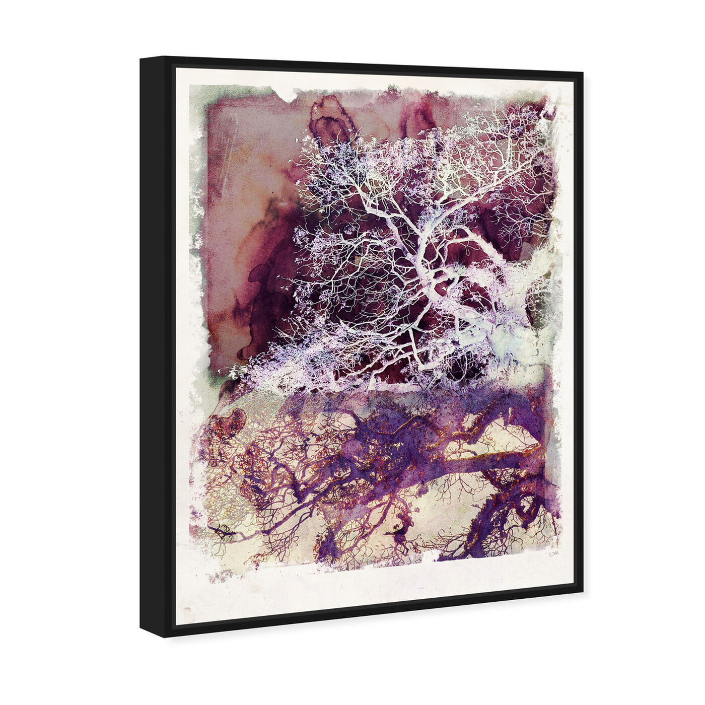 Angled view of Wanderer in Mauve featuring floral and botanical and trees art.