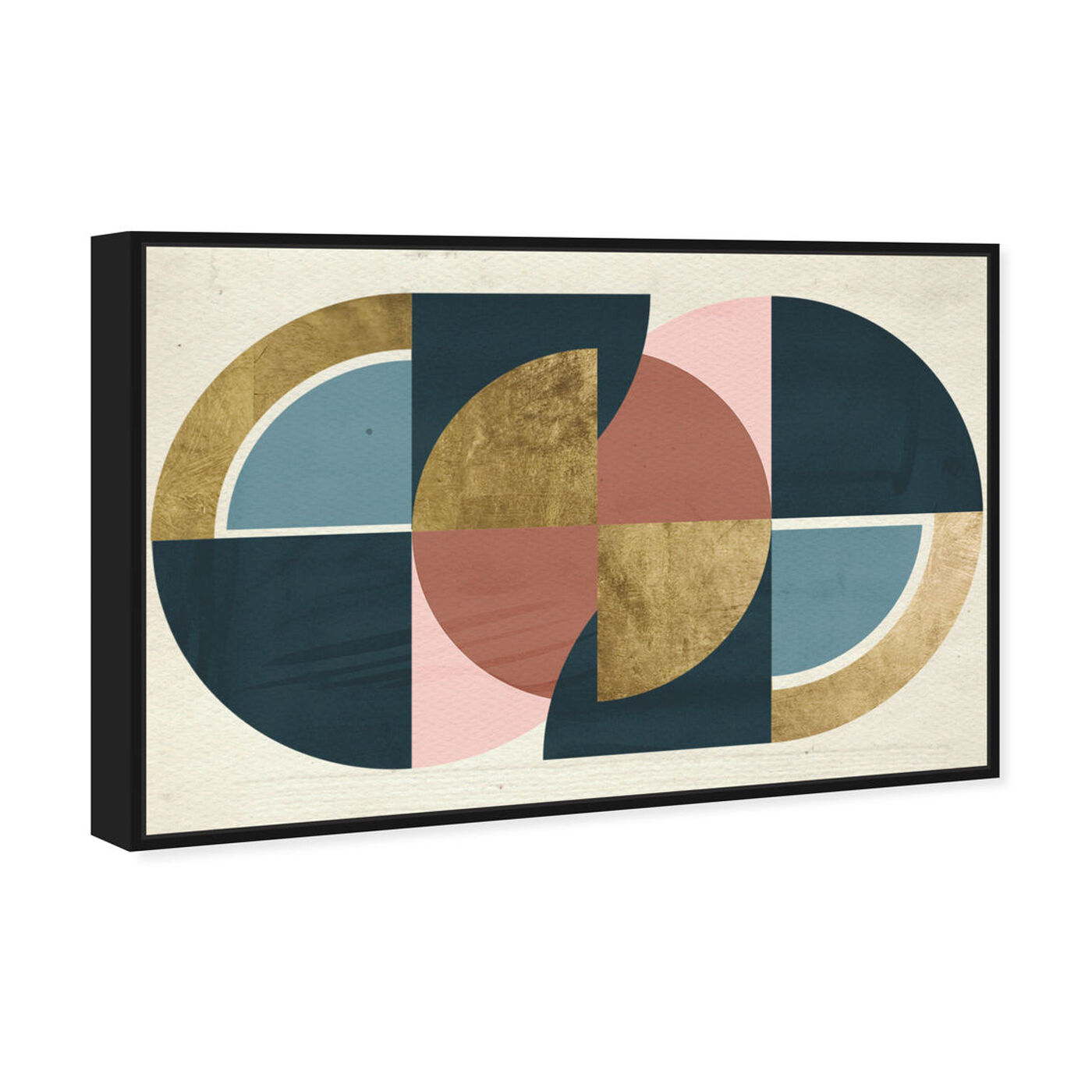 Angled view of Rotating Puzzle Spheres III Gold featuring abstract and geometric art.