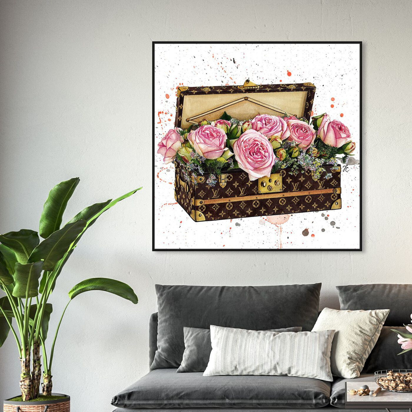 Hanging view of Doll Memories - Trunk Full of Flowers featuring fashion and glam and travel essentials art.