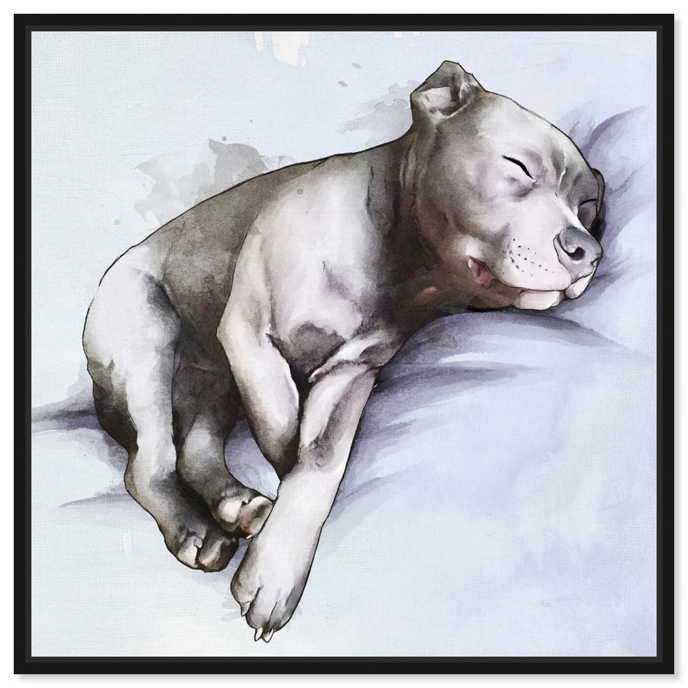 Front view of Sleeping Pitbull featuring animals and dogs and puppies art.