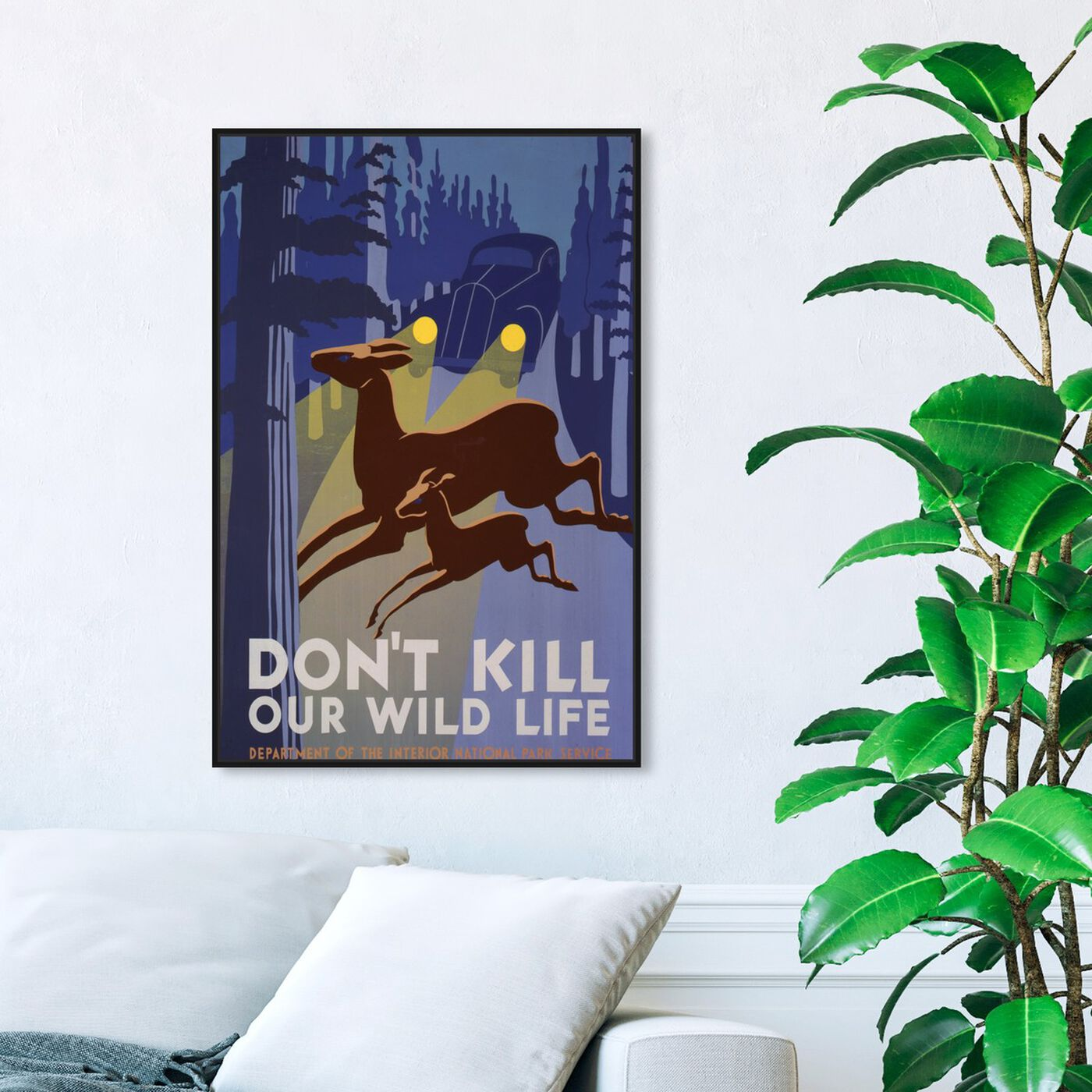Hanging view of Don't Kill Our Wild Life featuring advertising and posters art.