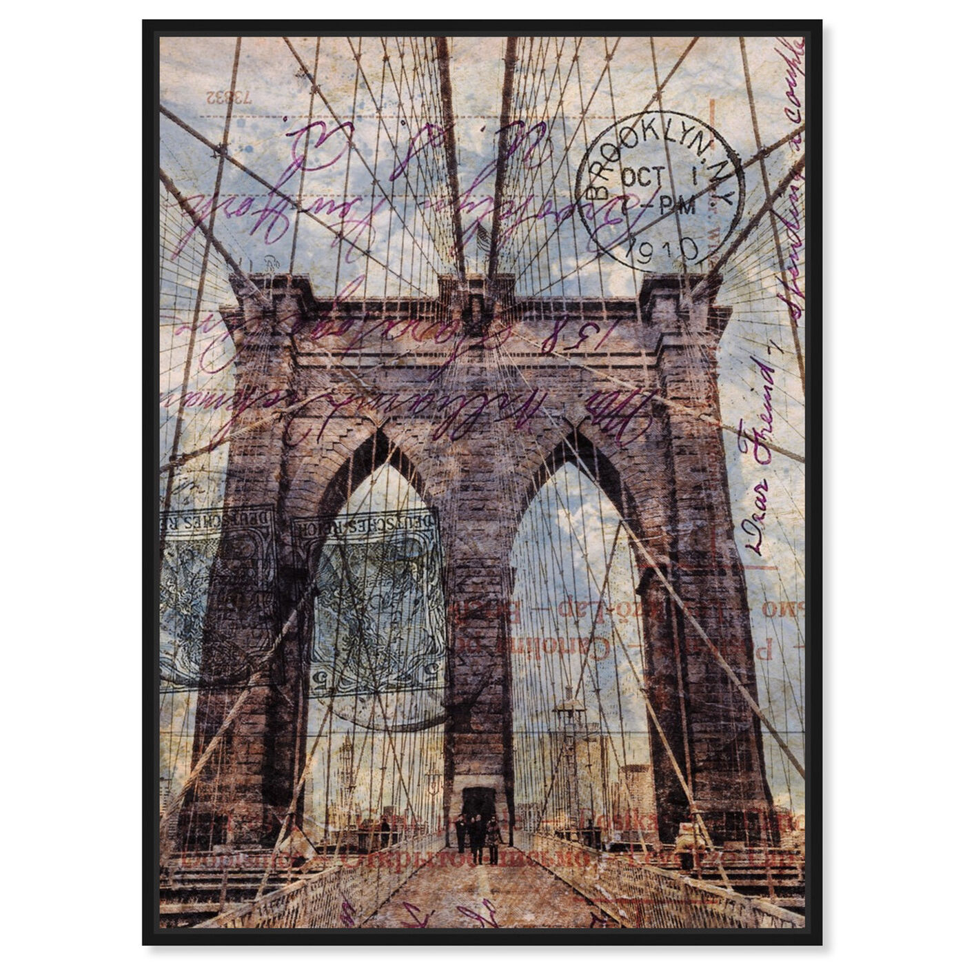Front view of Brooklyn Bridge featuring architecture and buildings and famous bridges art.