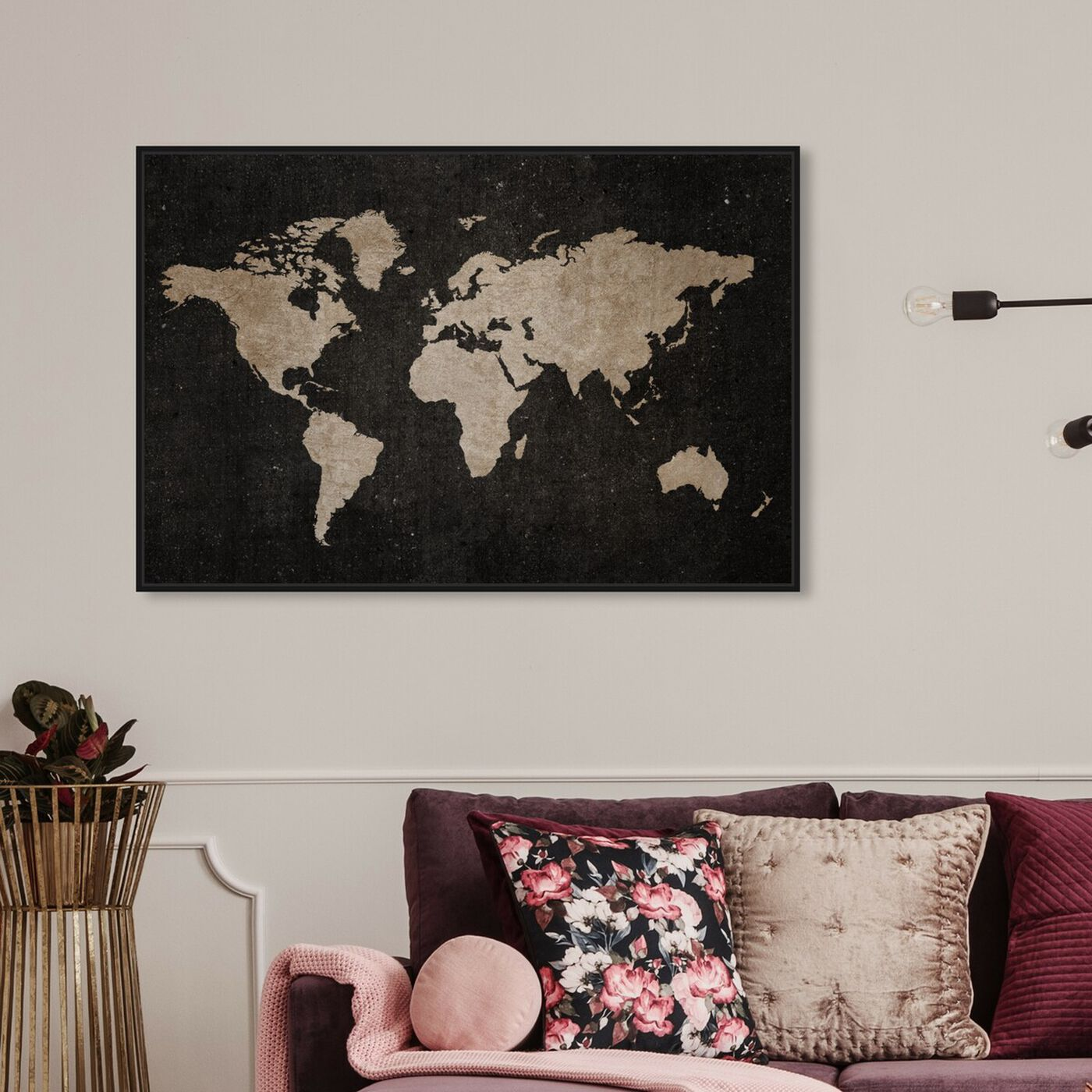 Hanging view of Vintage World featuring maps and flags and world maps art.