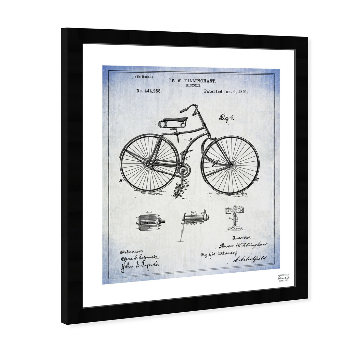 Angled view of Bicycle 1891 featuring transportation and bicycles art.