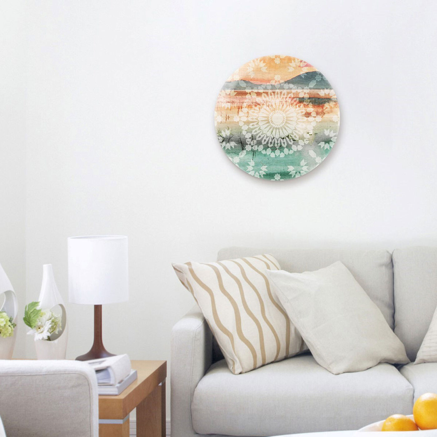 Hanging view of View Of The Lake Round featuring abstract and patterns art.