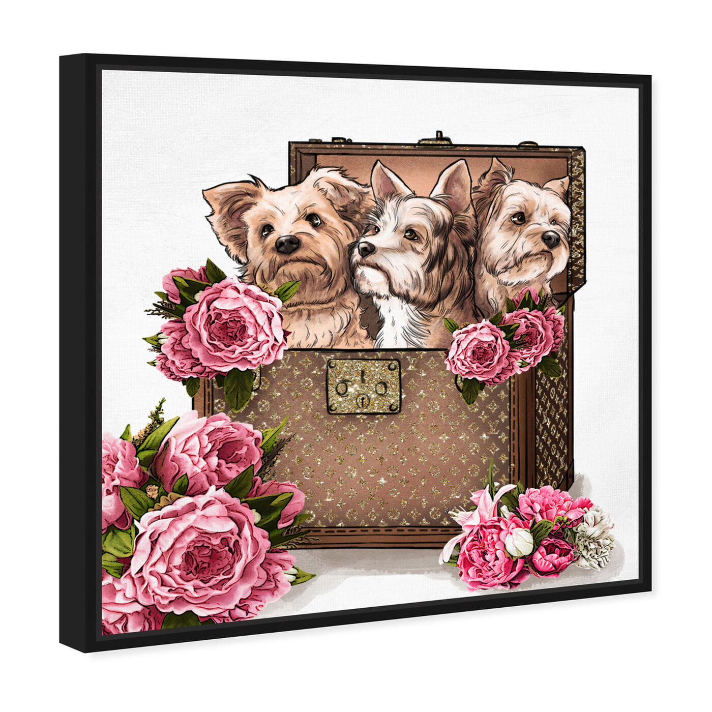 Angled view of Treasured Yorkies featuring fashion and glam and travel essentials art.