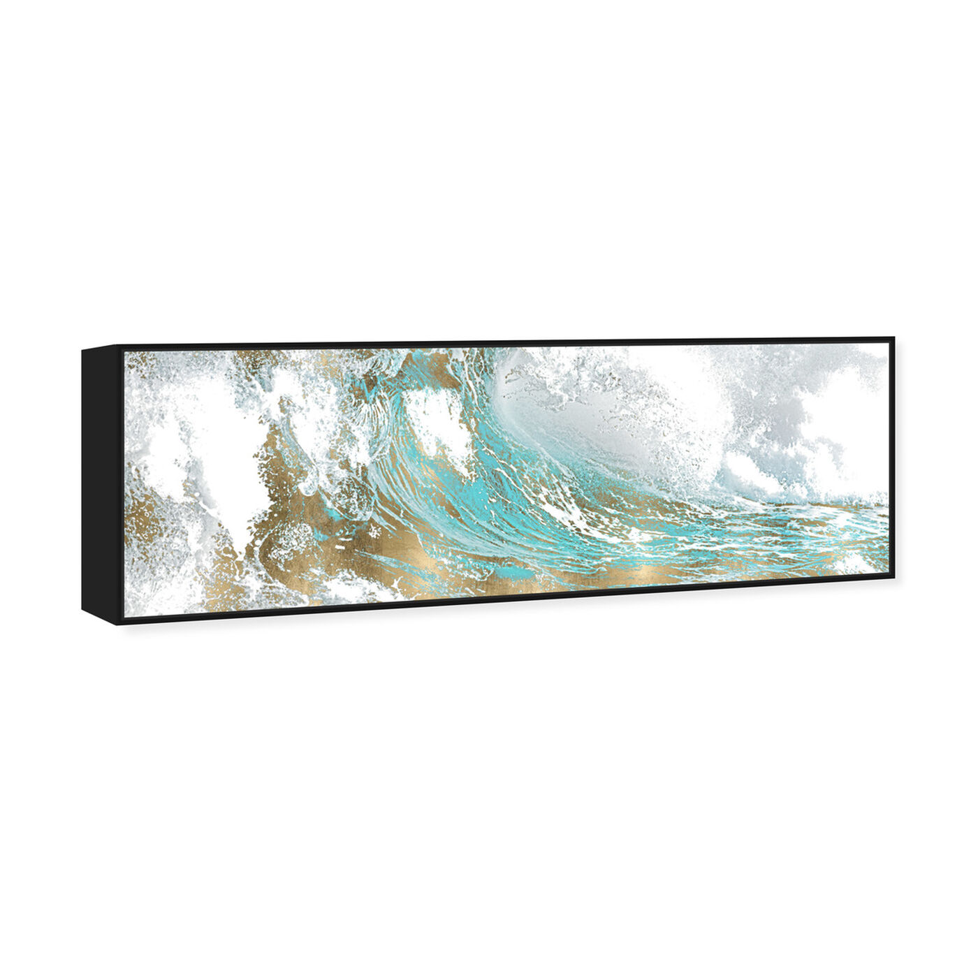 Angled view of Wave in a Moment Aqua featuring abstract and paint art.