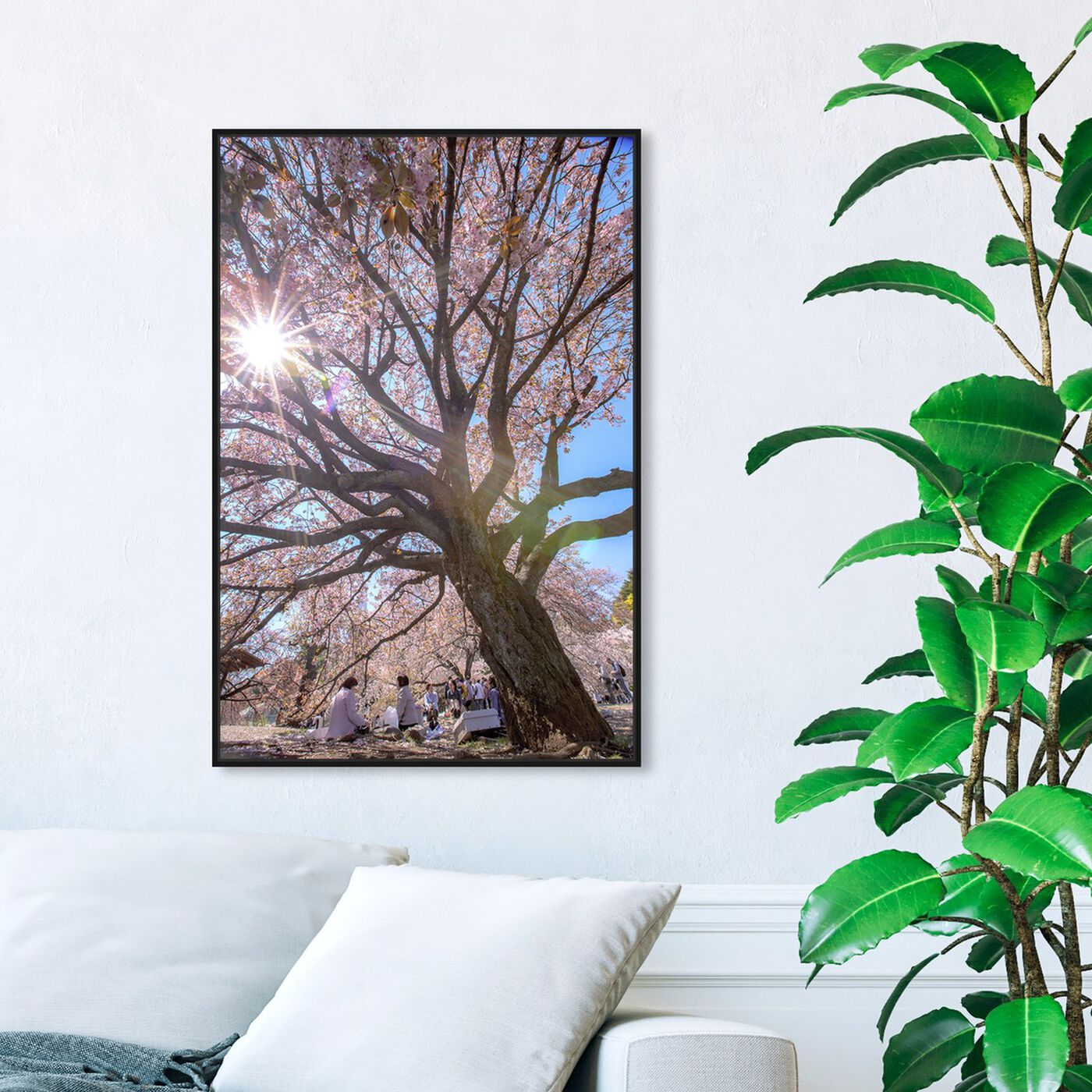 Hanging view of Curro Cardenal - Blush Cherries II featuring floral and botanical and trees art.