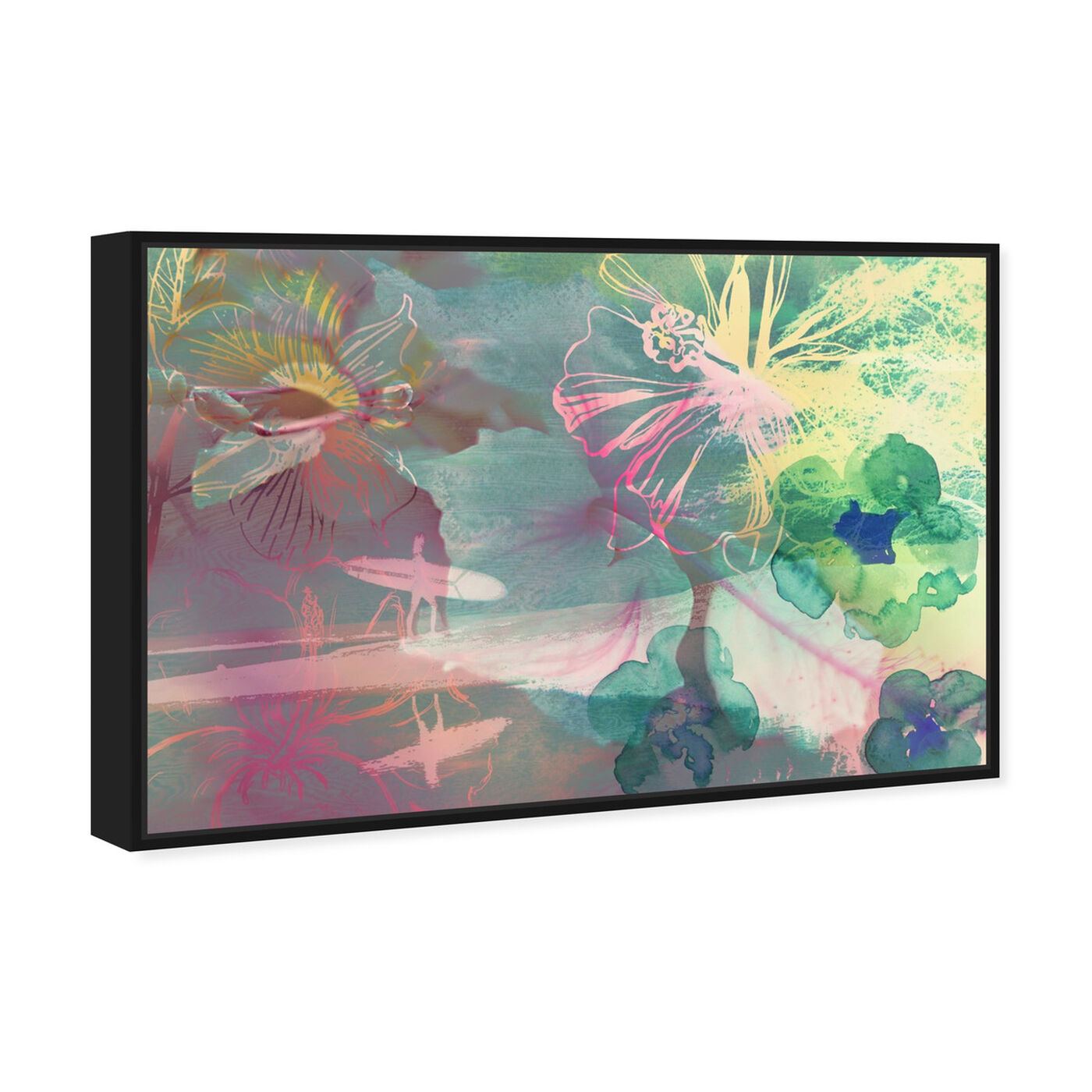 Angled view of Surfer Girl I featuring abstract and flowers art.