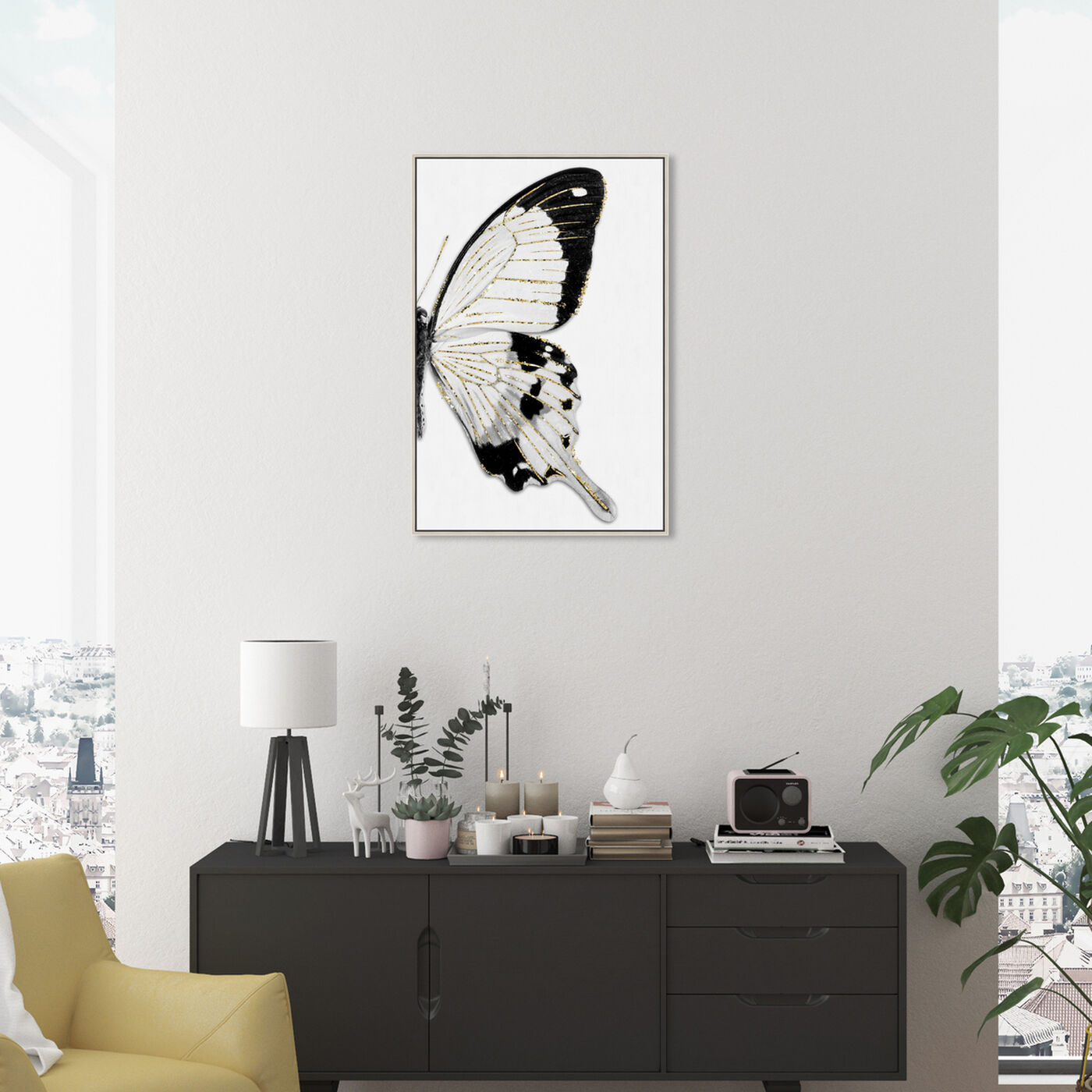 Hanging view of Monochrome Glitter Butterfly I featuring animals and insects art.