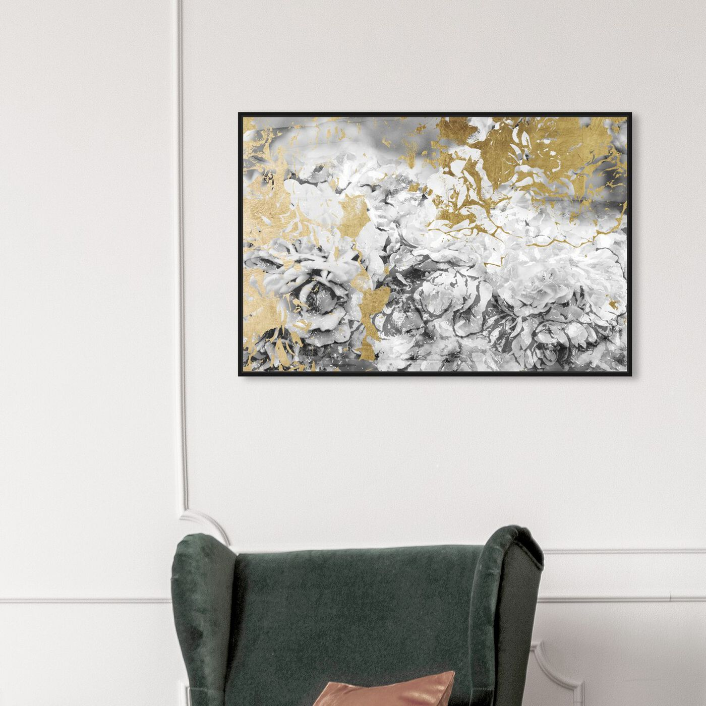 Hanging view of Silver and Gold Camellias featuring abstract and flowers art.
