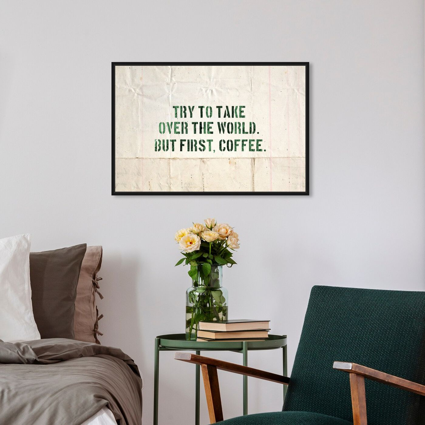 Hanging view of Coffee featuring typography and quotes and funny quotes and sayings art.