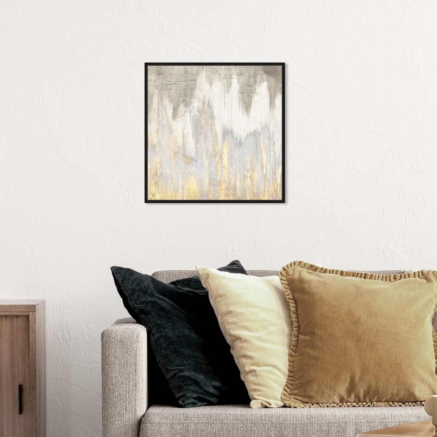 Hanging view of Golden Caves featuring abstract and paint art.