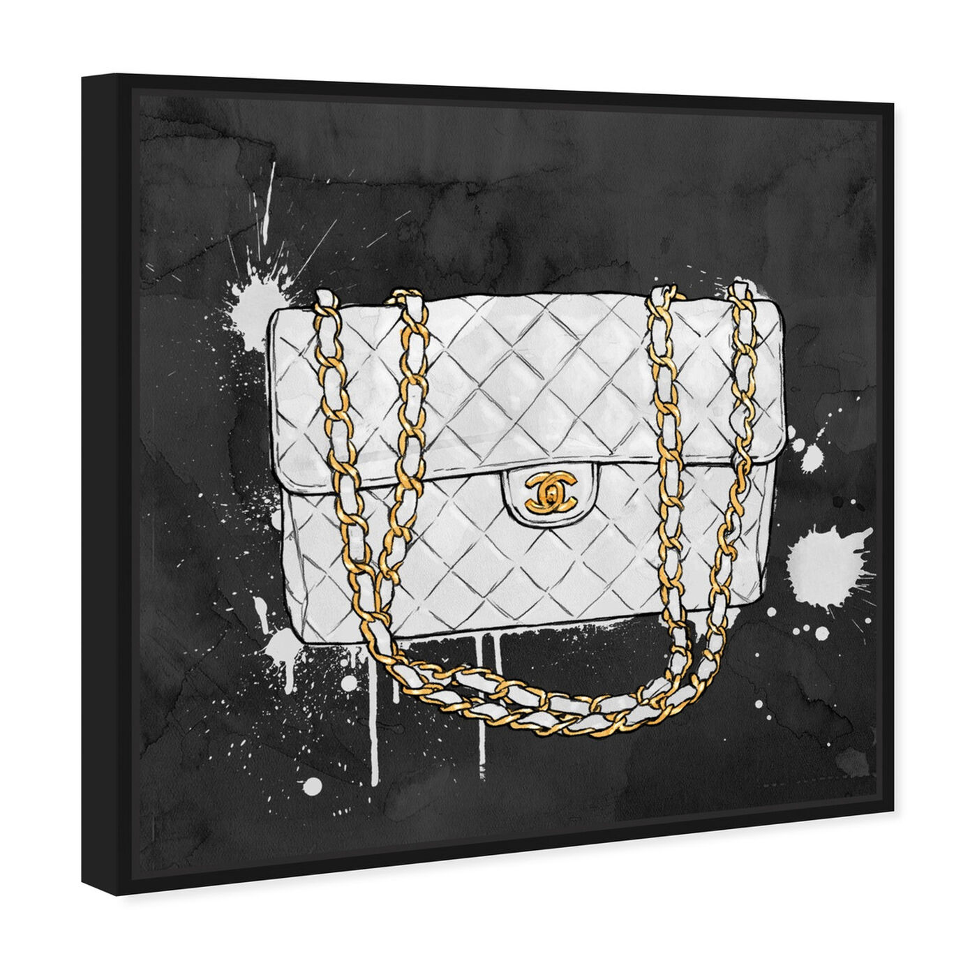 Angled view of Everything But My White Bag featuring fashion and glam and handbags art.