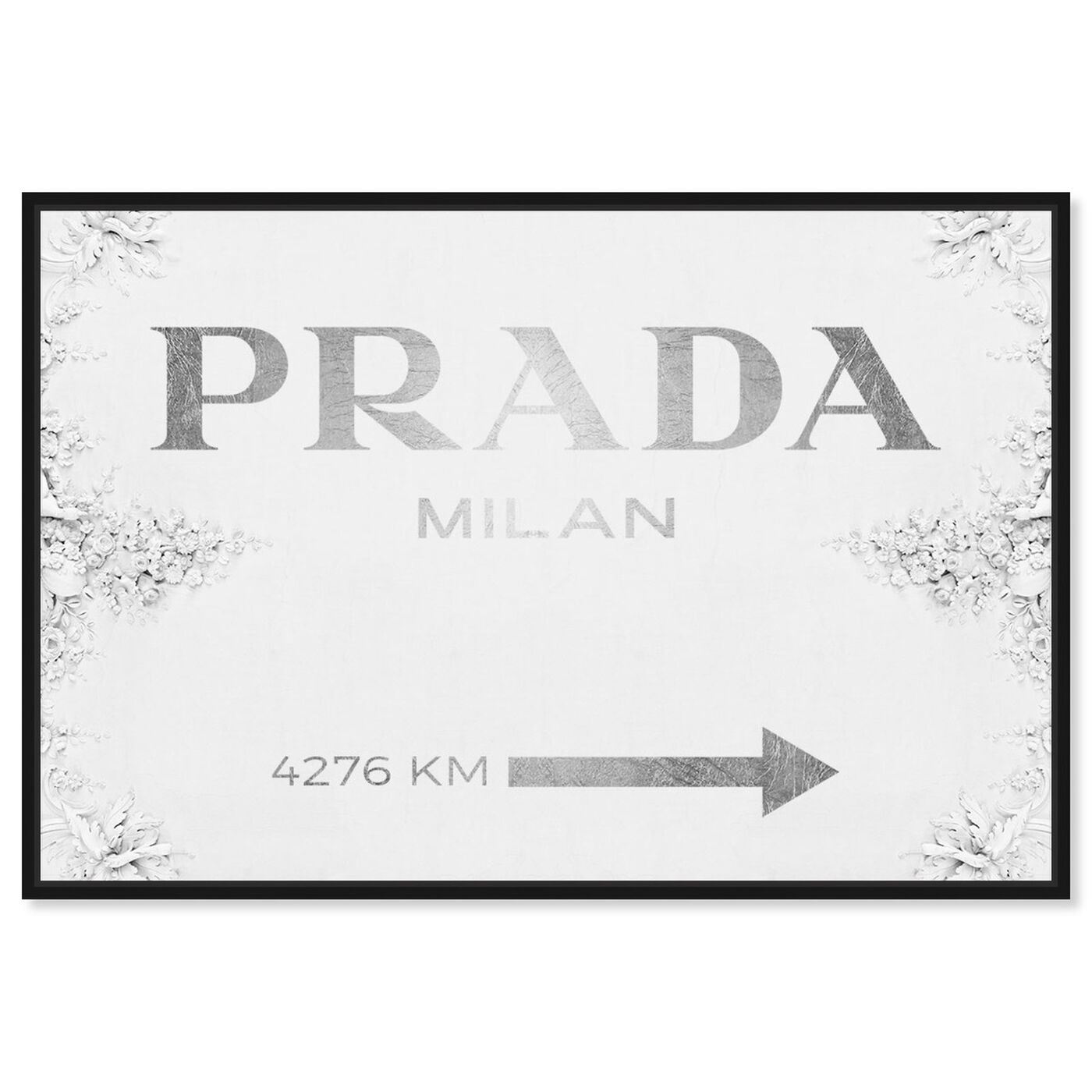 Front view of Milan Sign Contemporary featuring fashion and glam and road signs art.