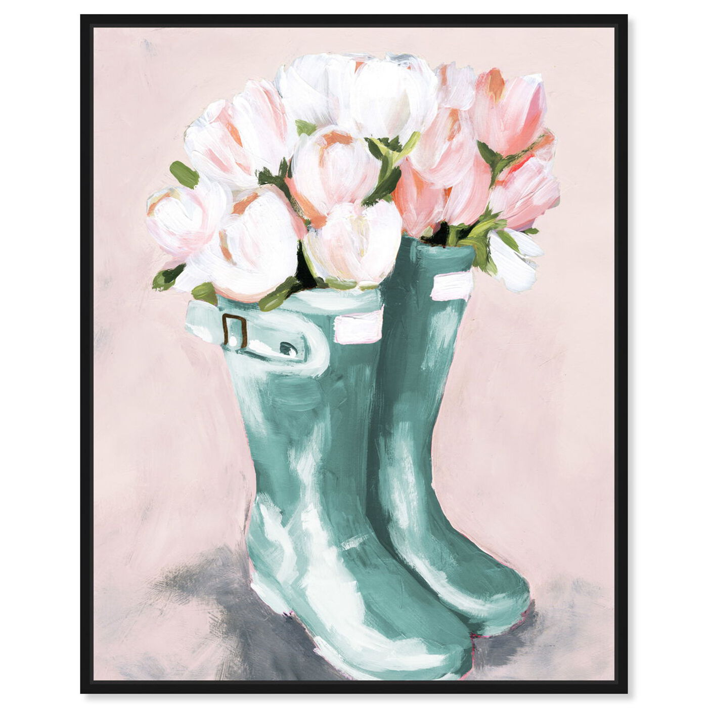 Front view of Pastel Rainboots and Flowers featuring fashion and glam and shoes art.