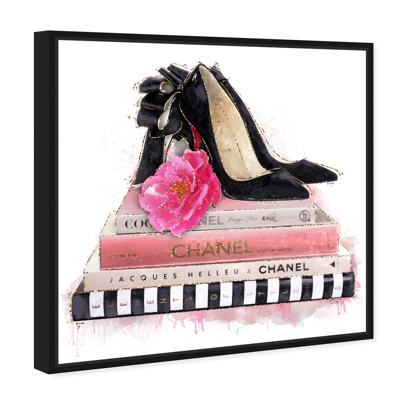 Angled view of Fashion Books and Glam Shoes featuring fashion and glam and books art.
