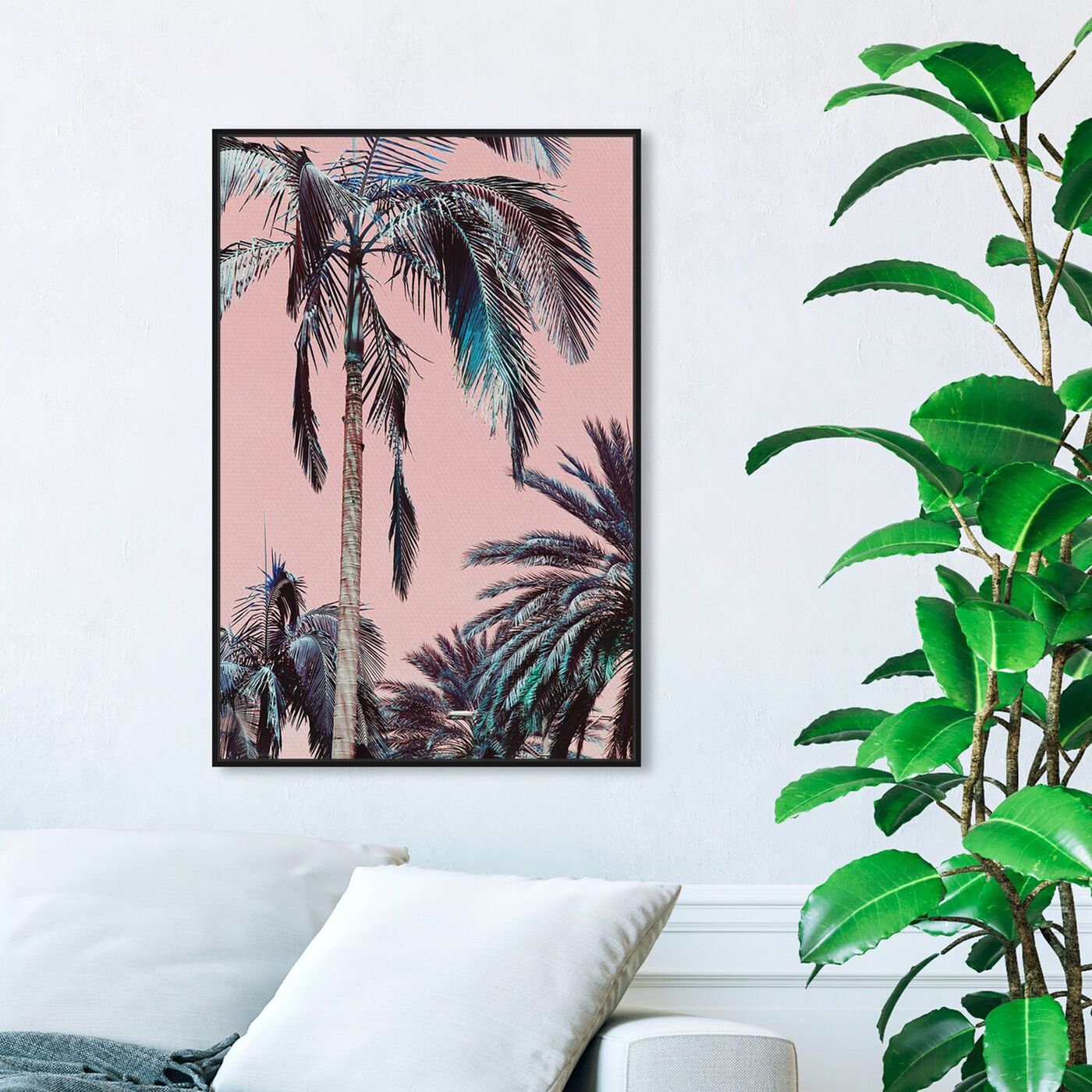 Hanging view of Beach Vibes featuring floral and botanical and trees art.